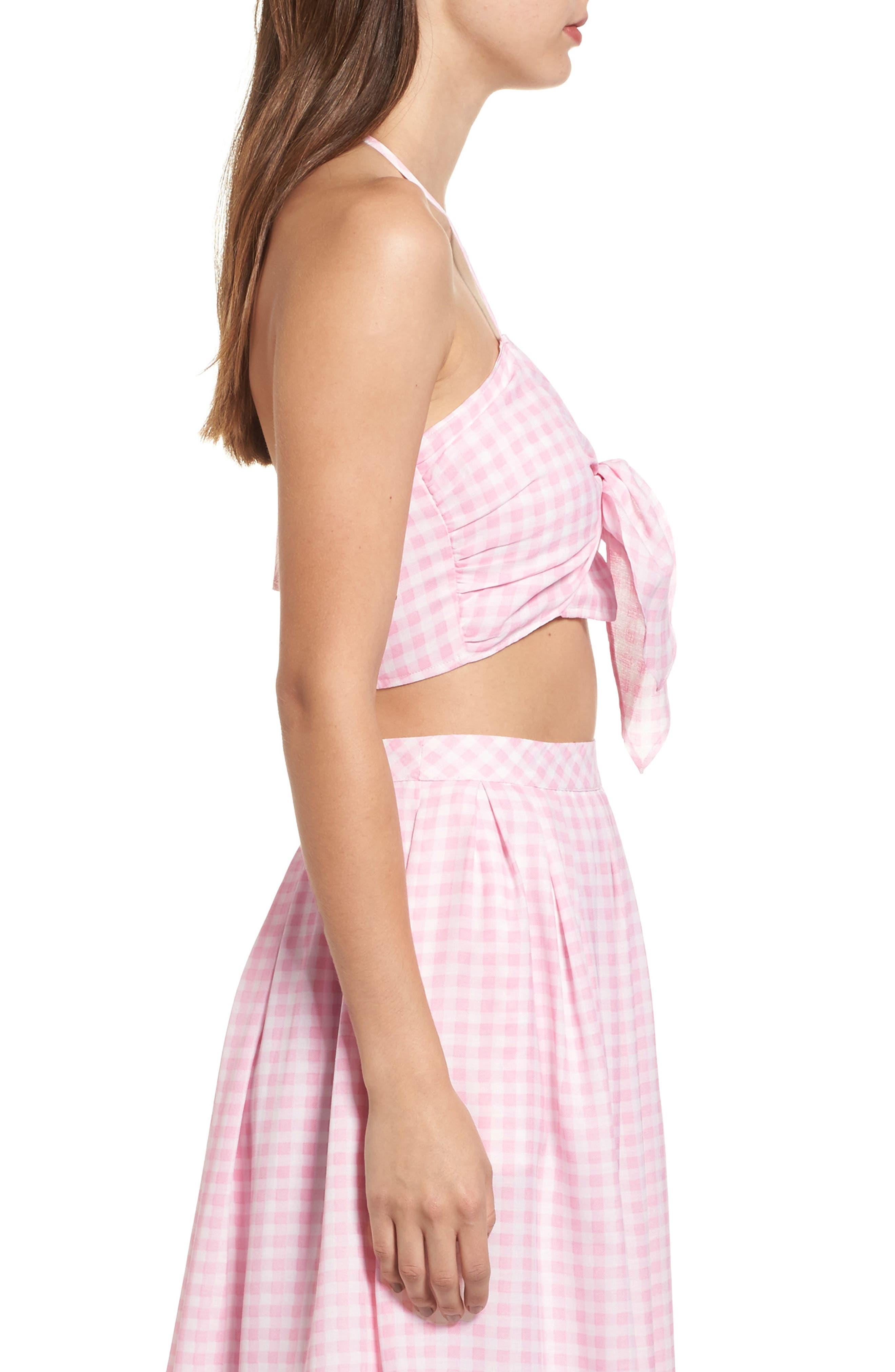 Gingham Halter Crop Top,                             Alternate thumbnail 3, color,                             650