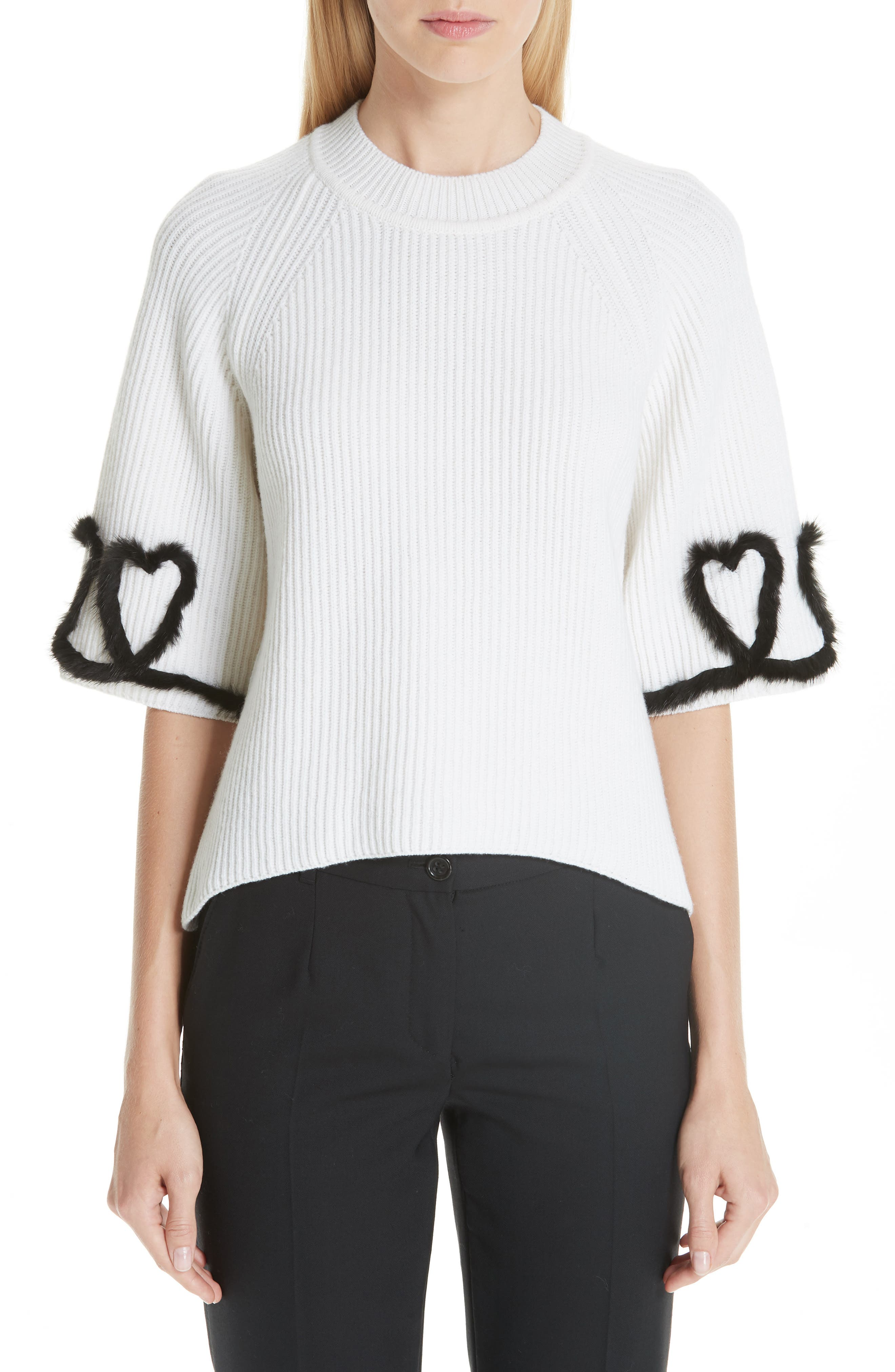 FENDI,                             Scribble Heart Sweater with Genuine Mink Fur Trim,                             Main thumbnail 1, color,                             WHITE