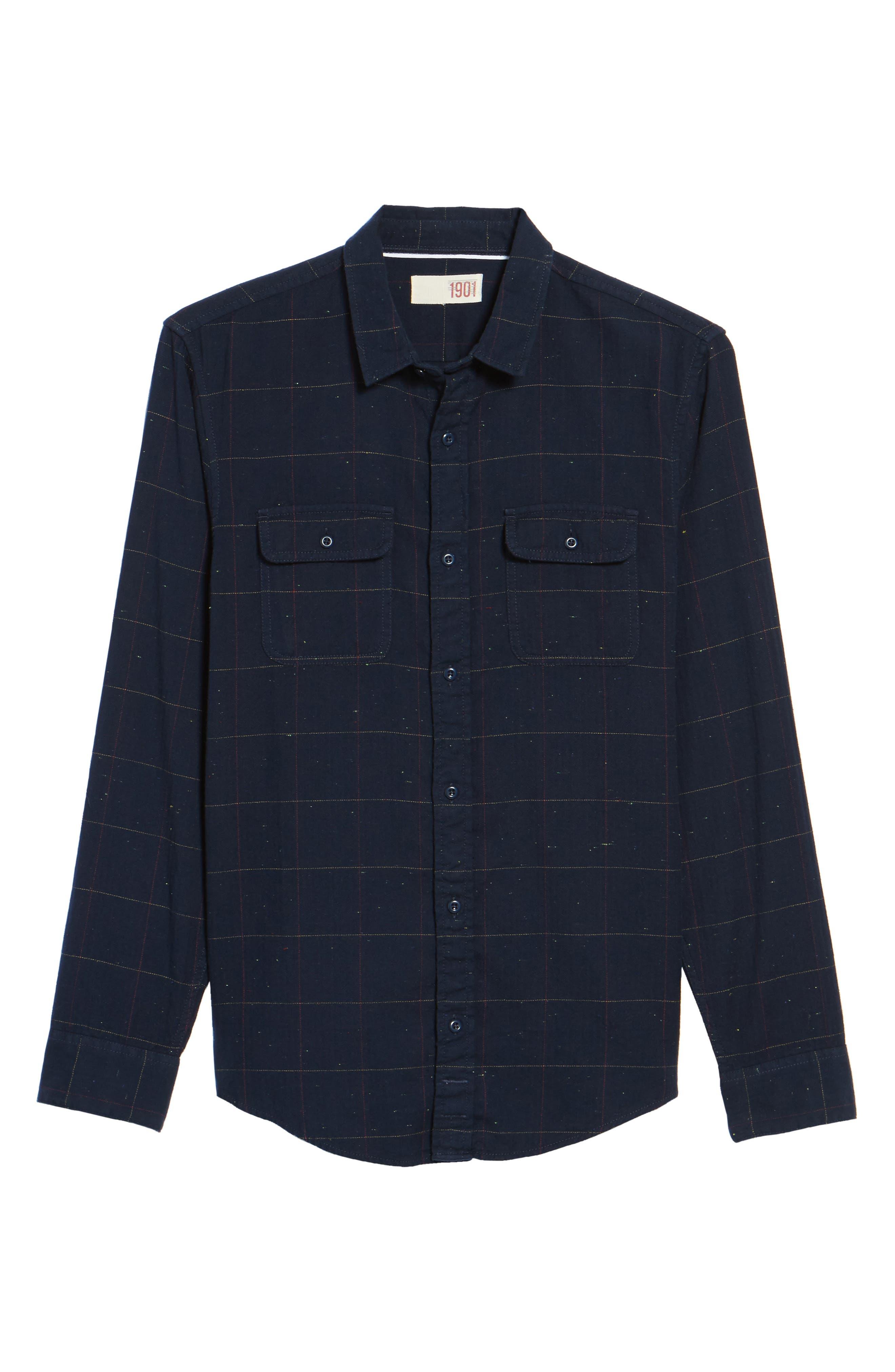 Herringbone Plaid Flannel Shirt,                             Alternate thumbnail 6, color,                             411
