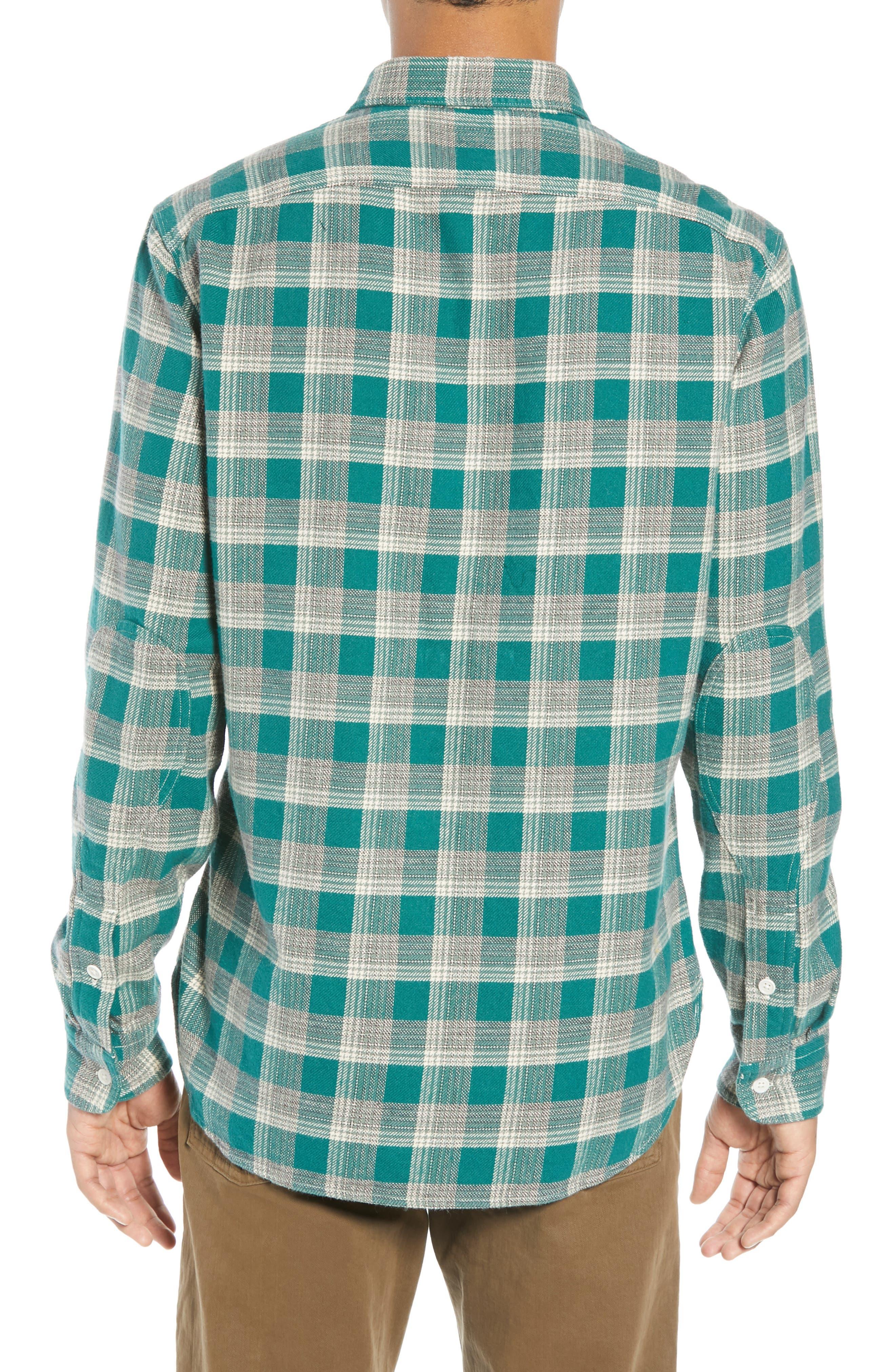The Heavyweight Flannel Workshirt,                             Alternate thumbnail 3, color,                             GREEN HALF SHADOW