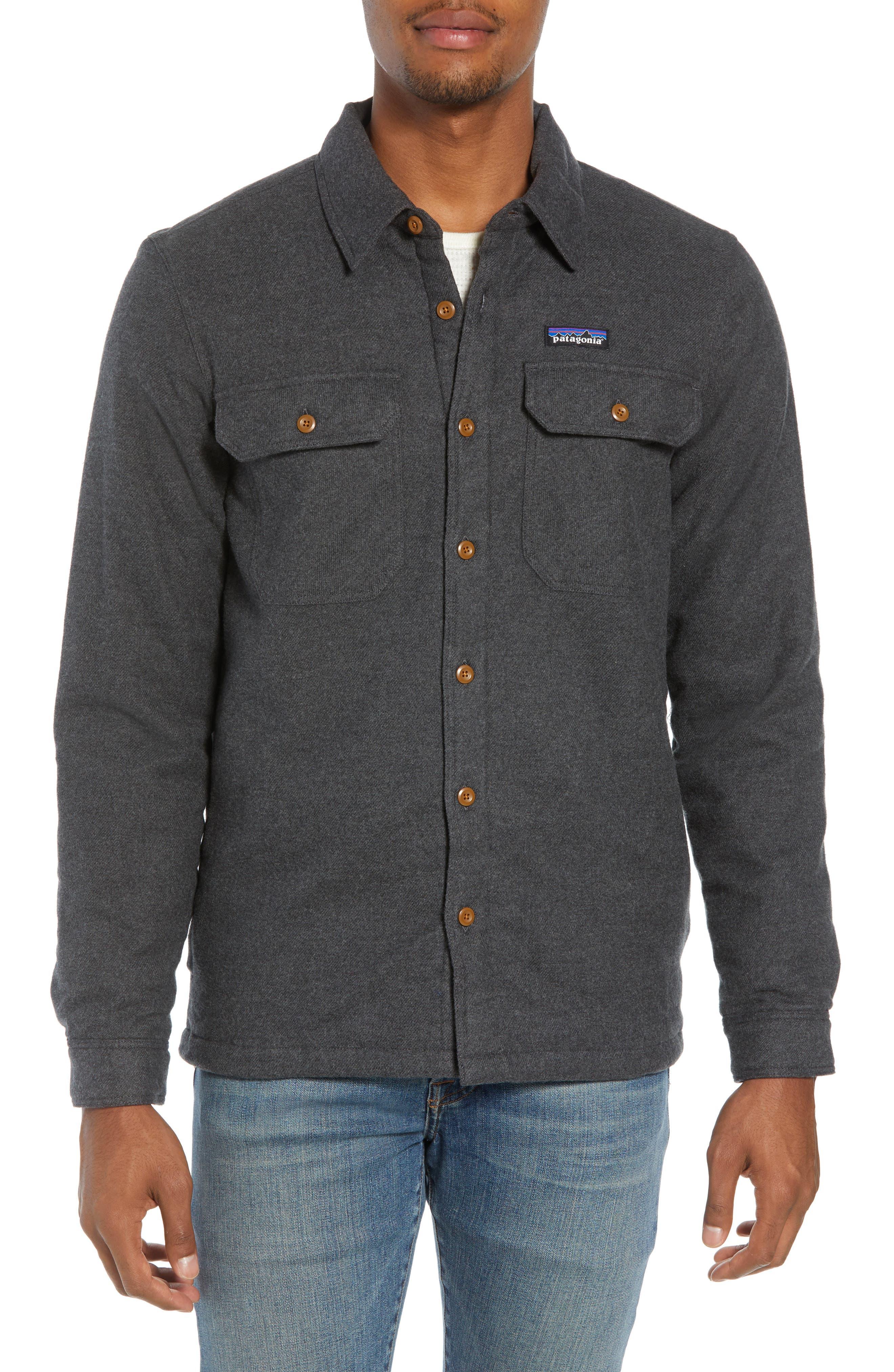 'Fjord' Flannel Shirt Jacket,                             Alternate thumbnail 4, color,                             FORGE GREY