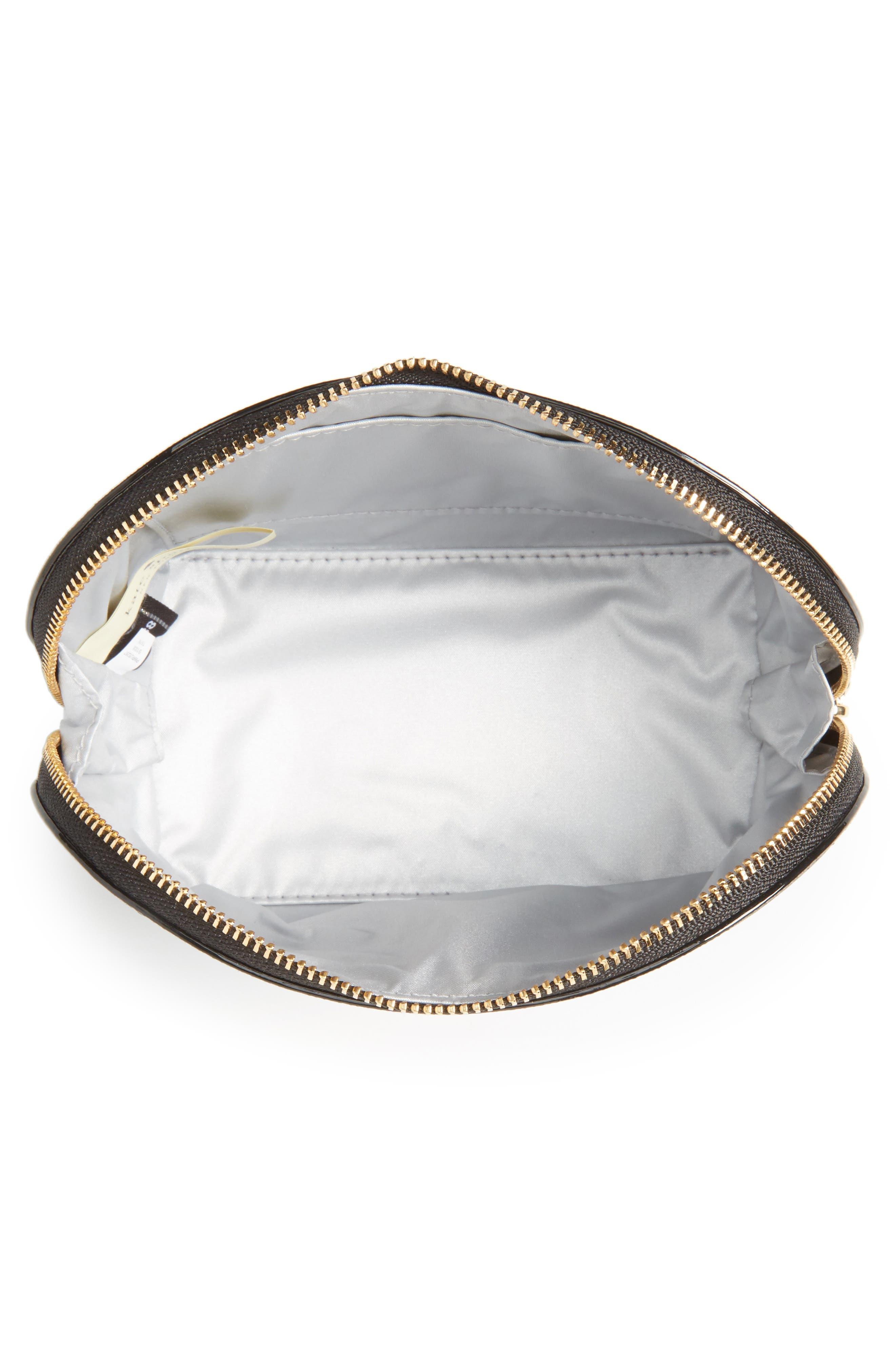 cameron street - small abalene leather cosmetics bag,                             Alternate thumbnail 3, color,                             BLACK