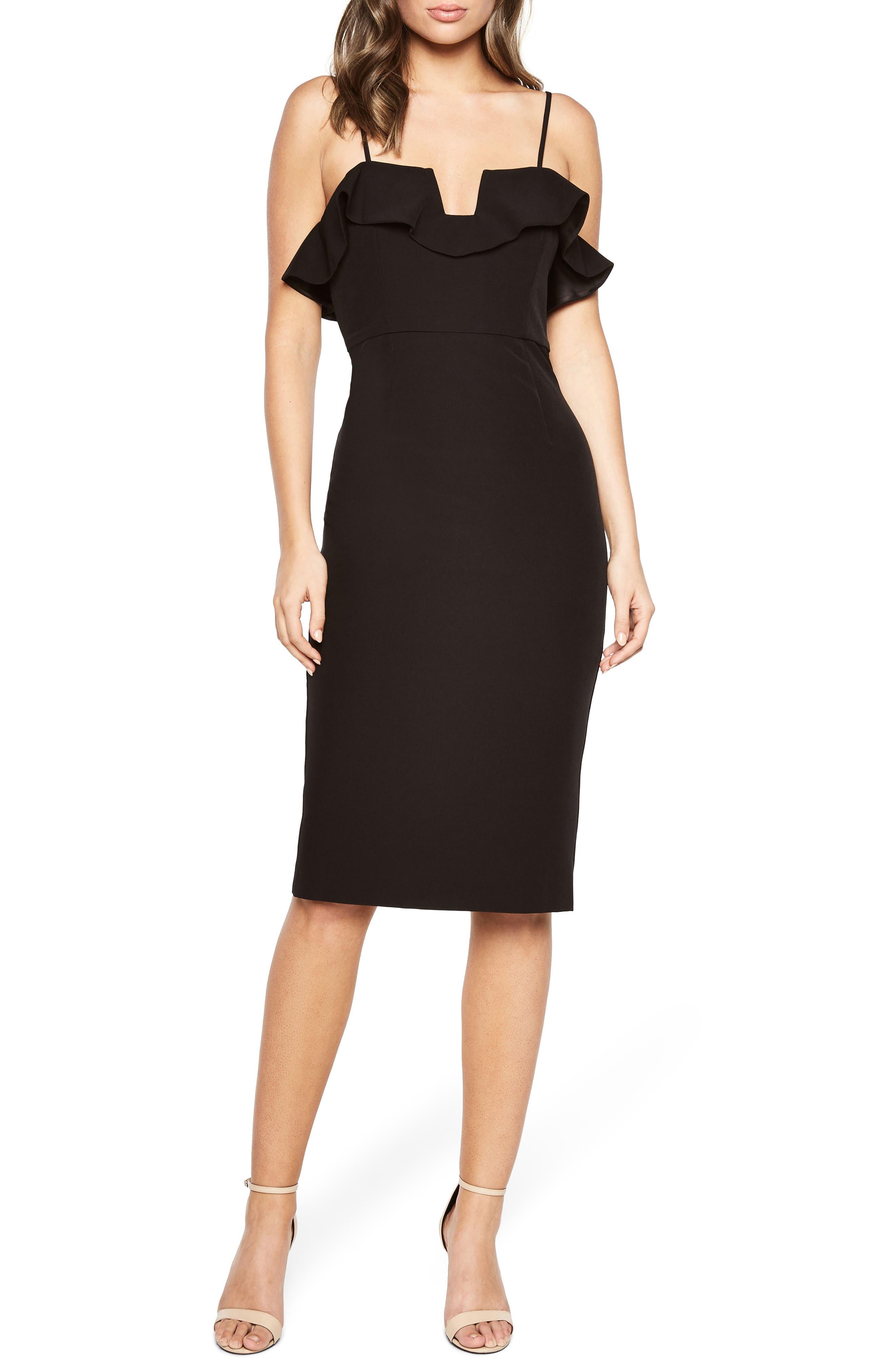 Karen Ruffled Sheath Dress,                             Main thumbnail 1, color,                             001