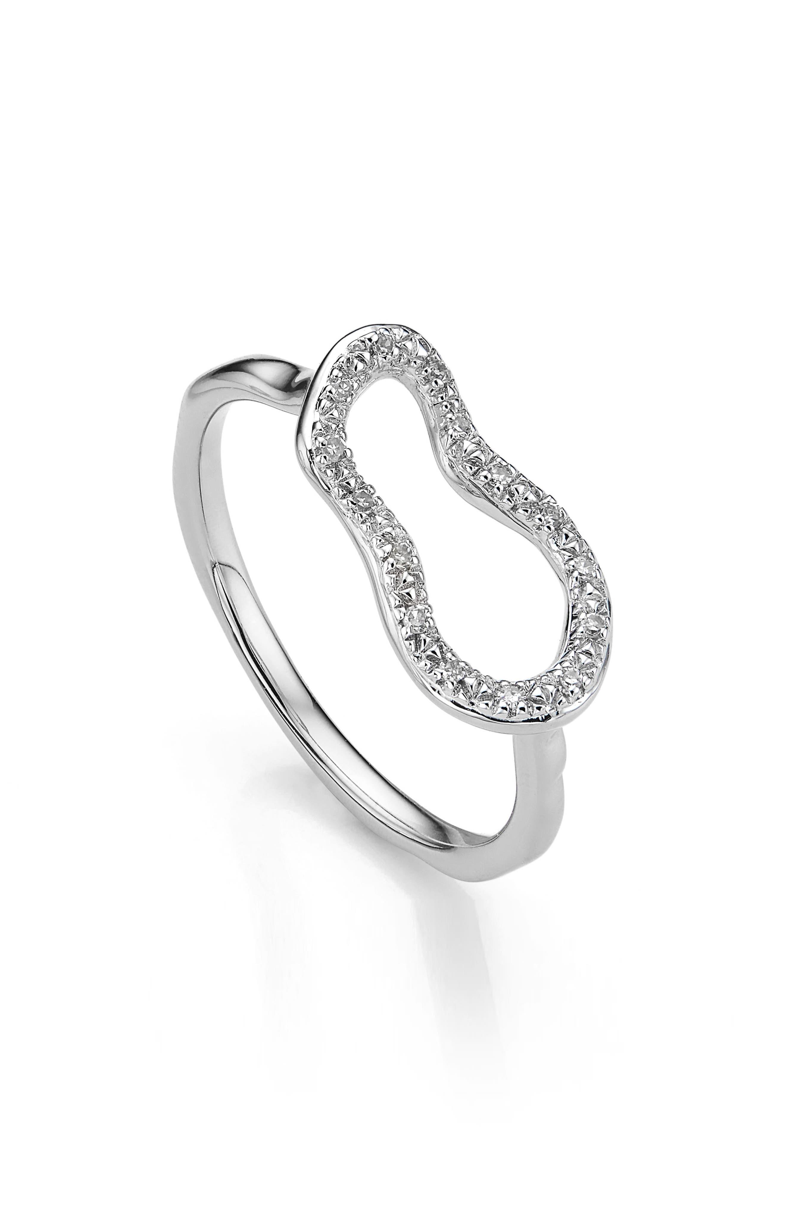 Riva Mini Pod Vermeil Diamond Ring,                             Main thumbnail 1, color,                             SILVER