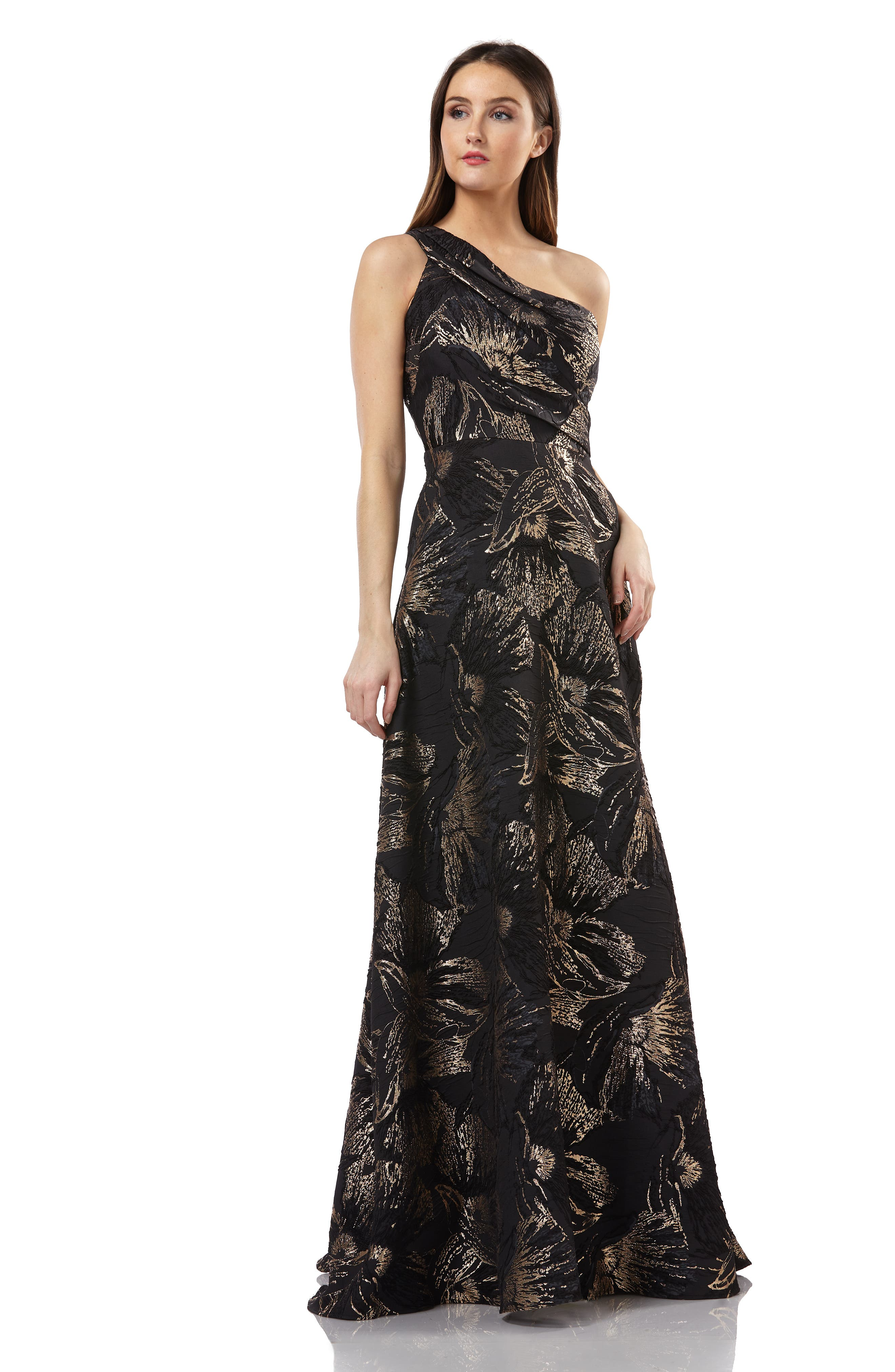 One-Shoulder Pleated Brocade Ballgown,                             Alternate thumbnail 5, color,                             BLACK/ GOLD