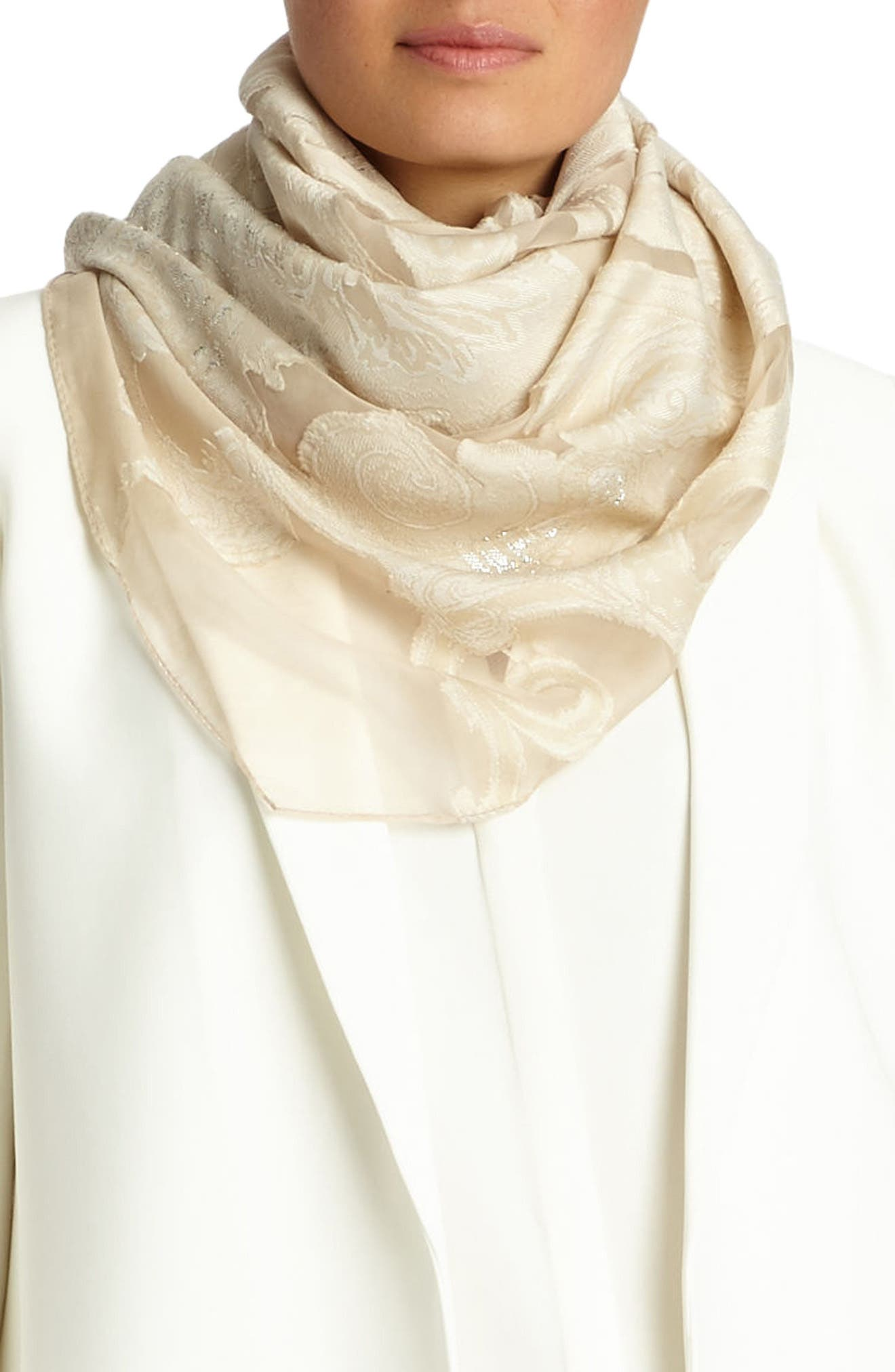 Guilded Paisley Scarf,                             Alternate thumbnail 8, color,