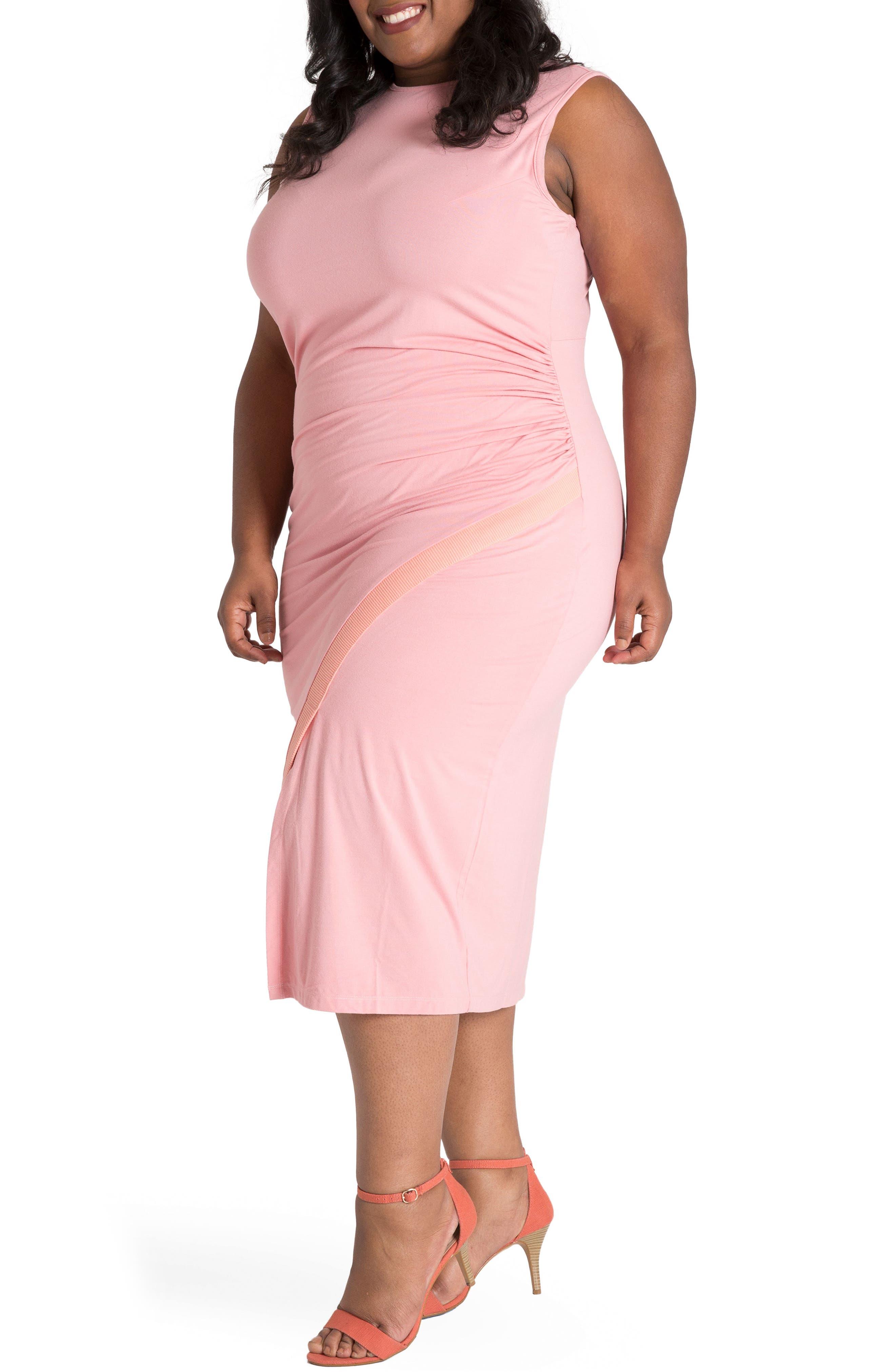 Brianna Jersey Sheath Midi Dress,                             Alternate thumbnail 3, color,                             LIGHT PINK