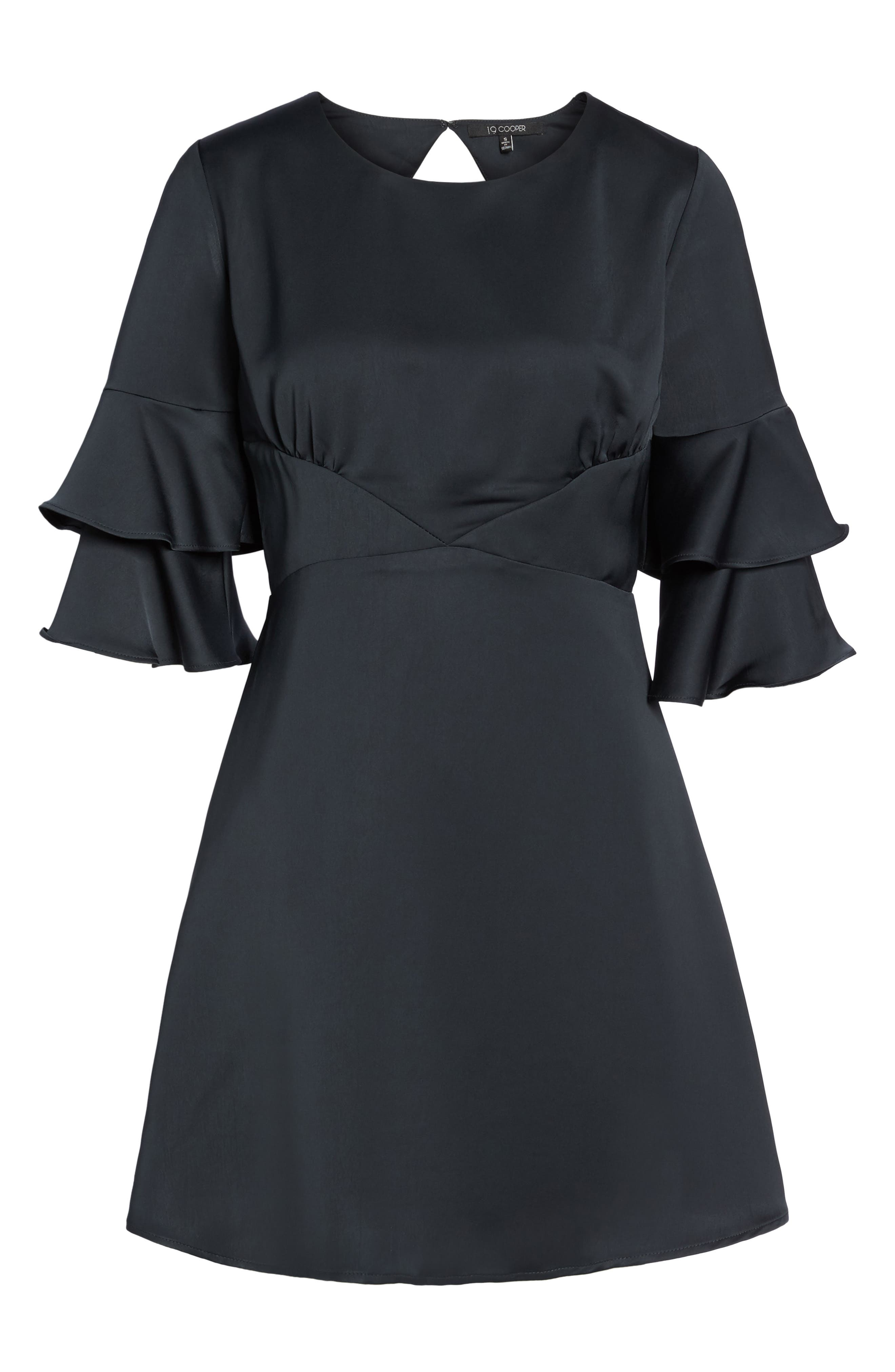 Ruffle Sleeve Satin Dress,                             Alternate thumbnail 6, color,                             001