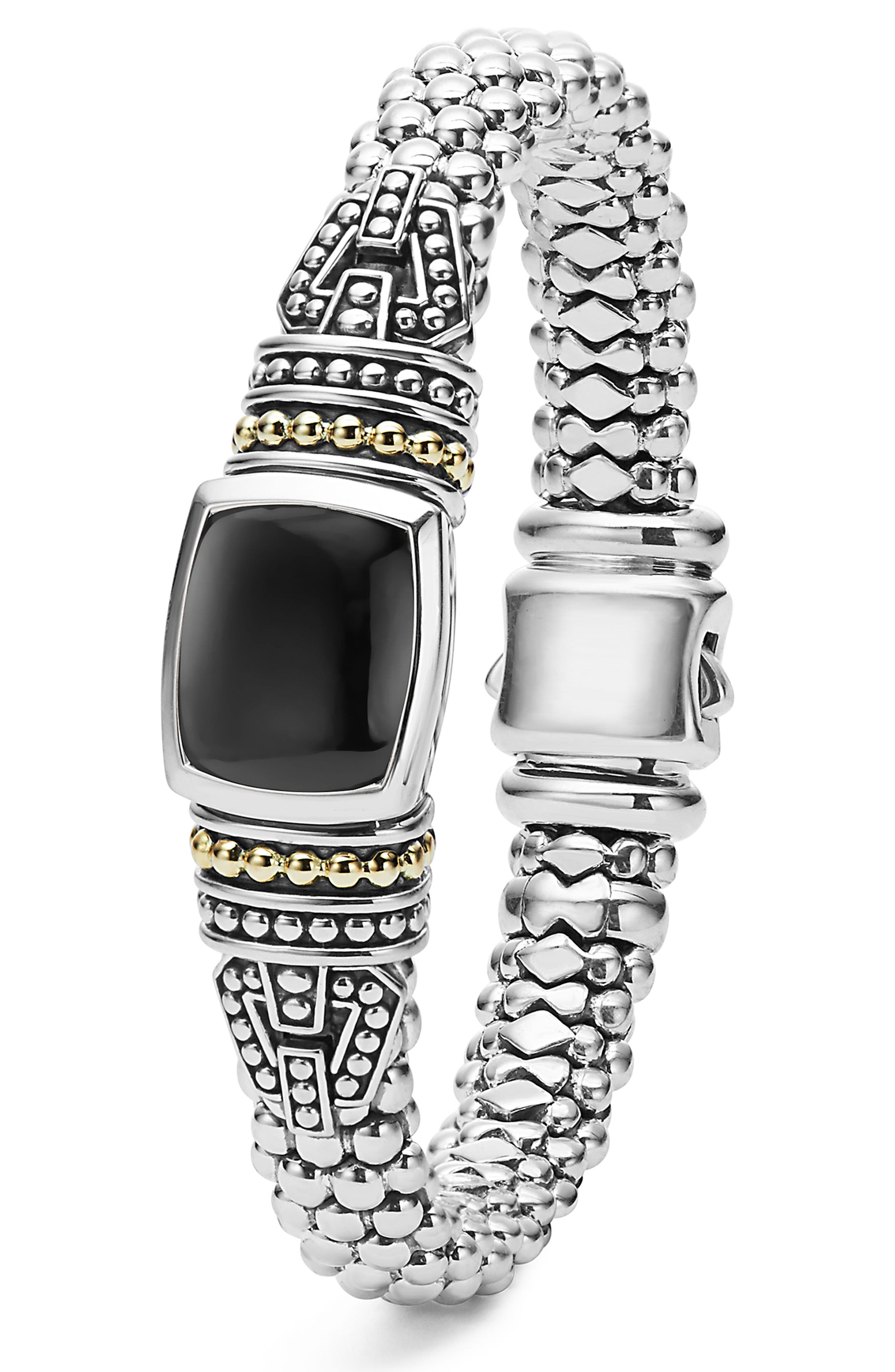'Caviar Color' Semiprecious Stone Bracelet,                             Alternate thumbnail 3, color,                             BLACK ONYX