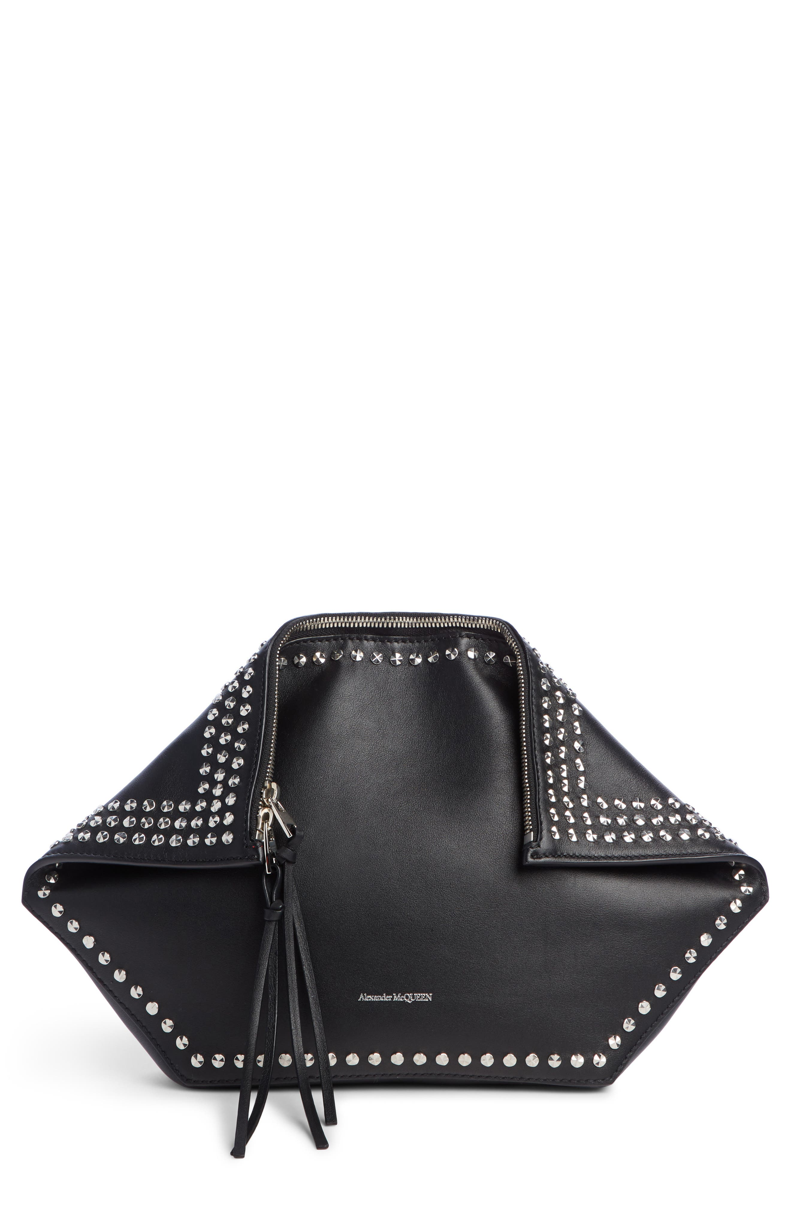 Studded Leather Butterfly Pouch,                             Main thumbnail 1, color,                             BLACK