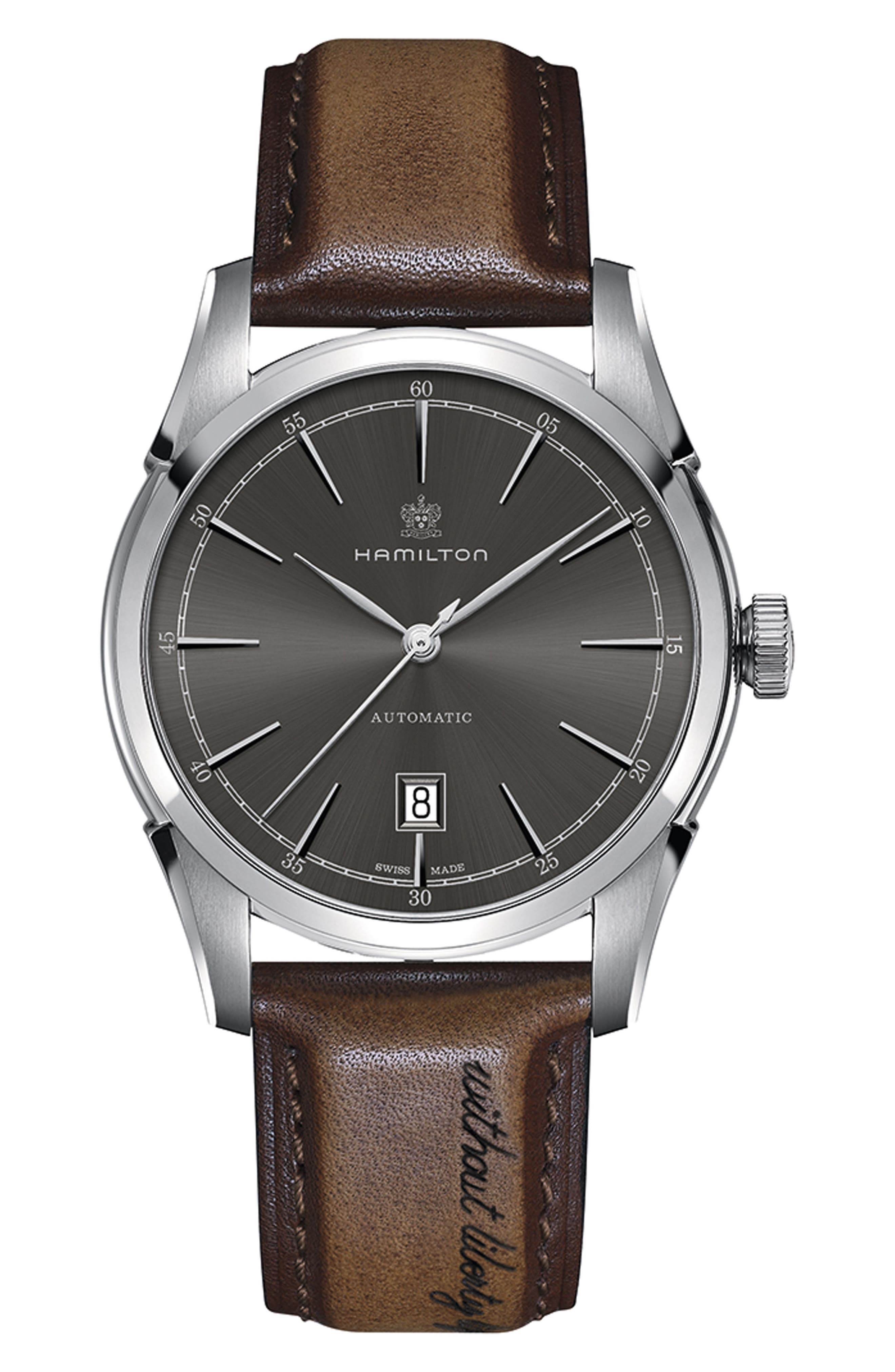 American Classic Automatic Leather Strap Watch, 42mm,                         Main,                         color, BROWN/ GREY/ SILVER