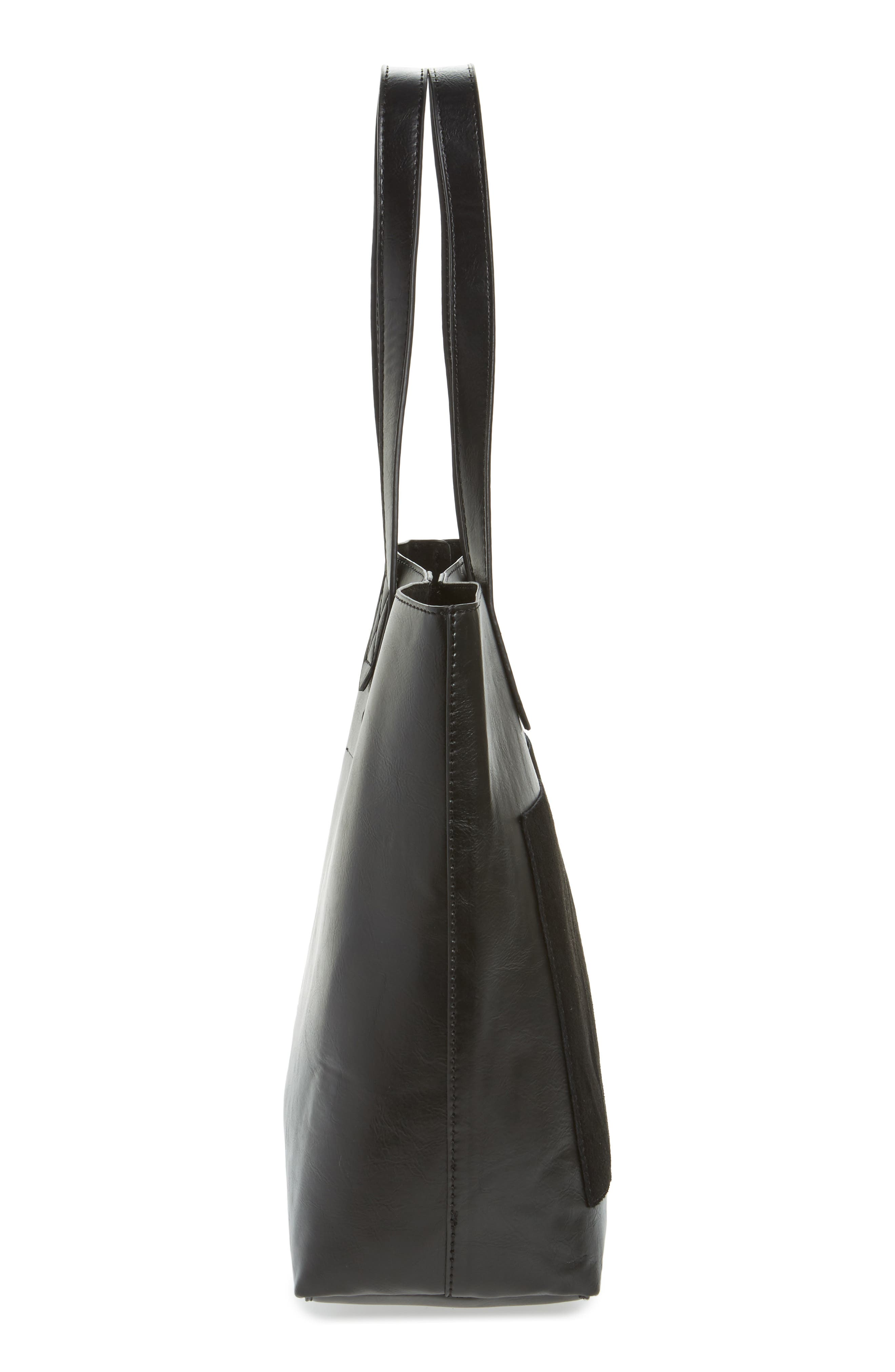 Trish Faux Leather Tote,                             Alternate thumbnail 5, color,                             001