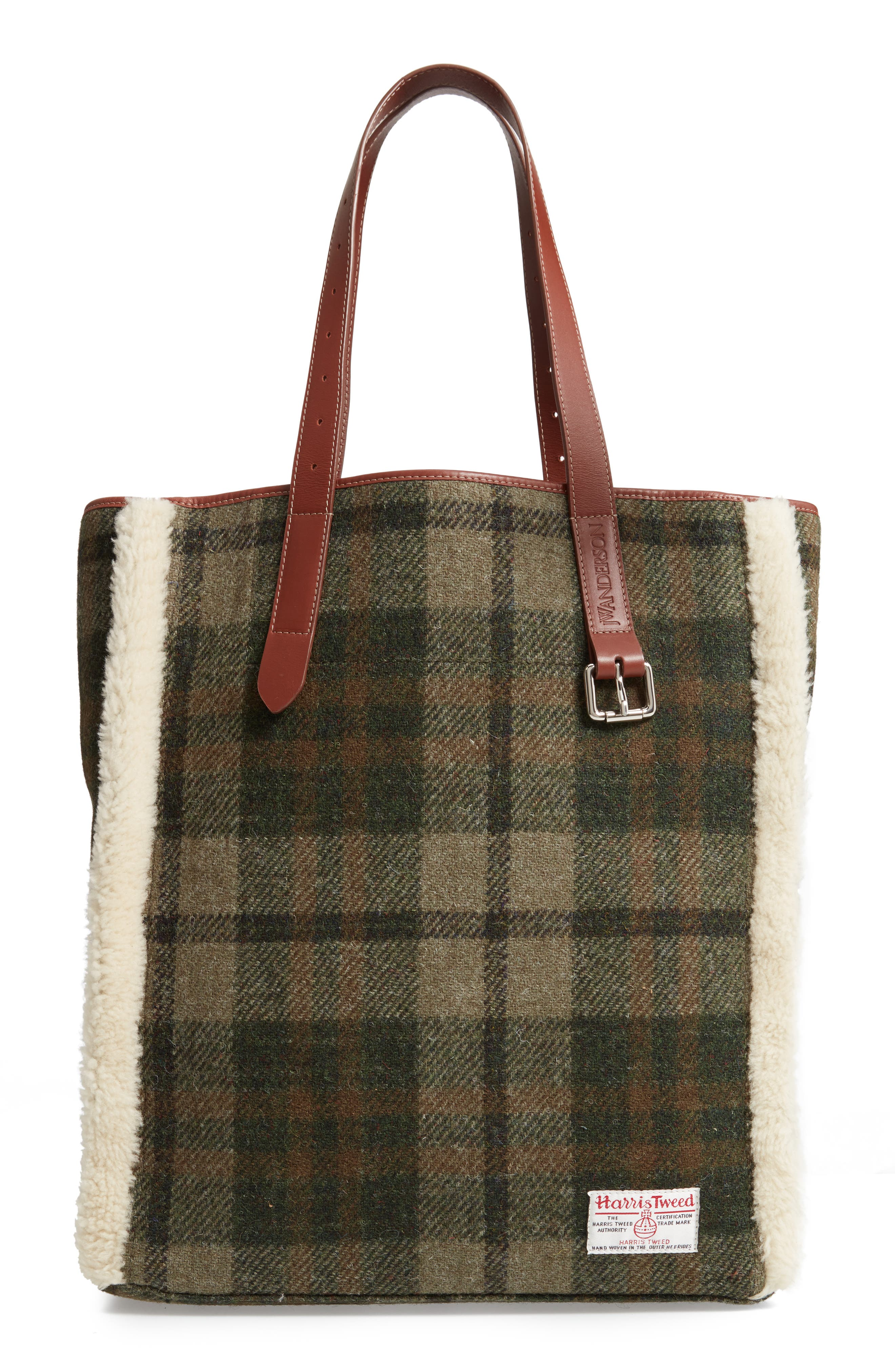 Tartan Belt Tote with Genuine Shearling Trim,                             Main thumbnail 1, color,                             SAFARI