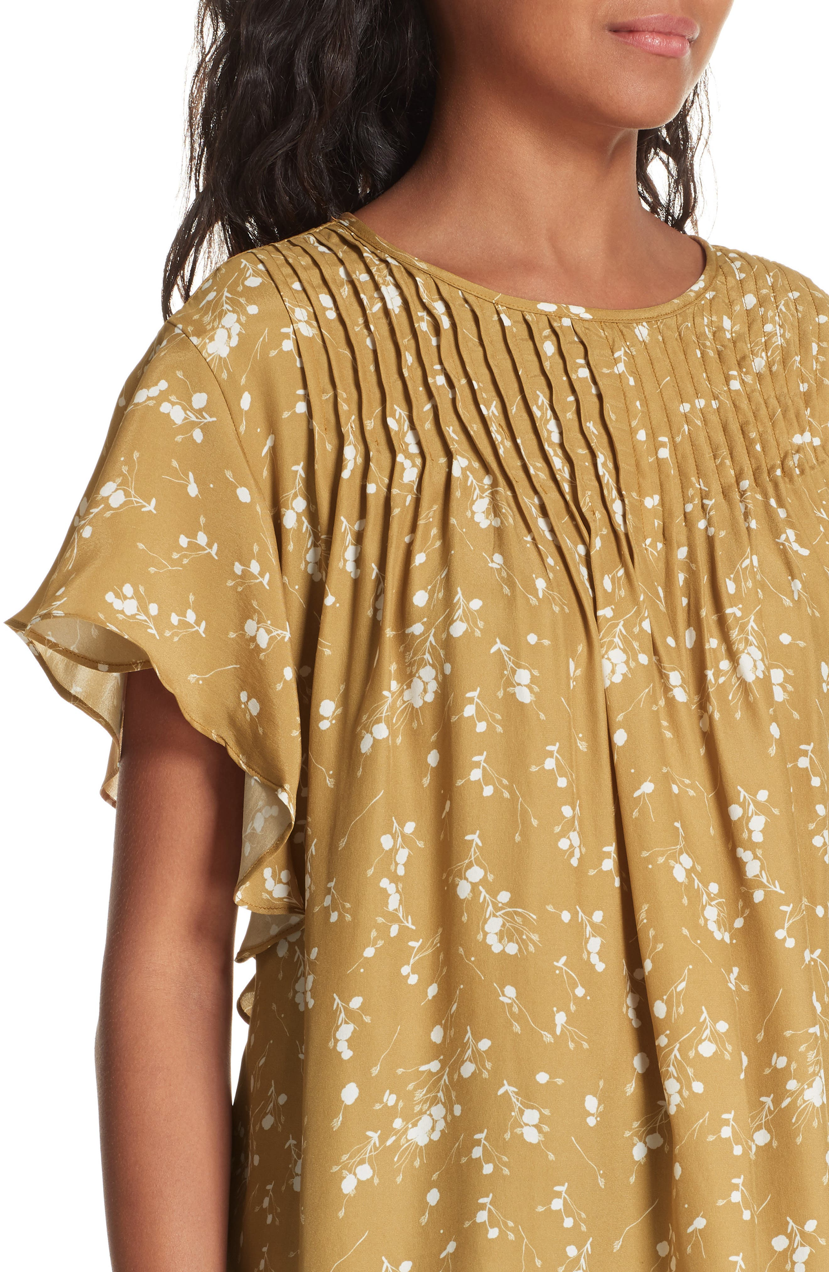 Murray Pintuck Flutter Sleeve Silk Blouse,                             Alternate thumbnail 4, color,                             GOLD PLUM BLOSSOM