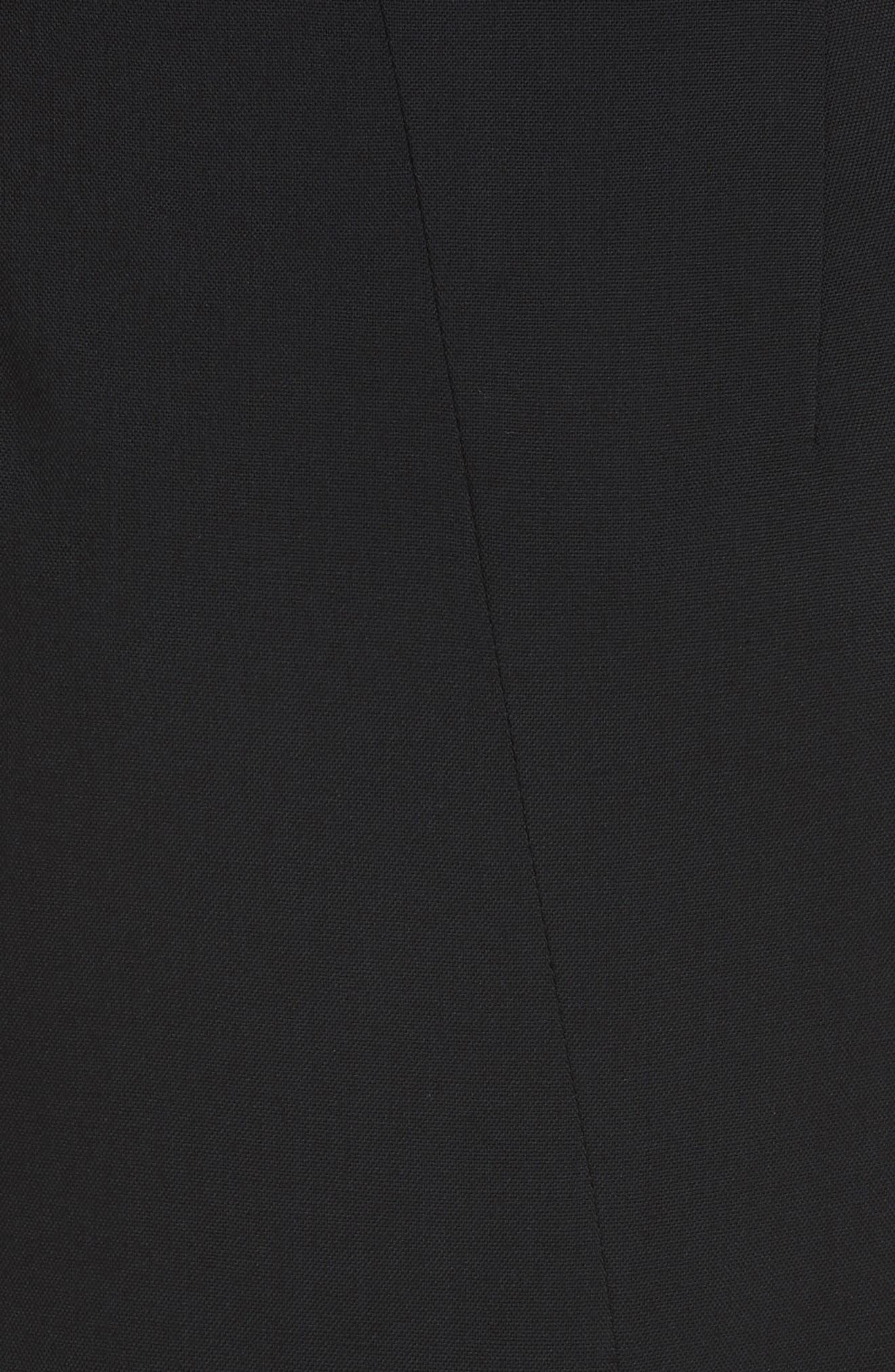 Button Detail Slit Stretch Wool Pencil Skirt,                             Alternate thumbnail 5, color,                             001 BLACK