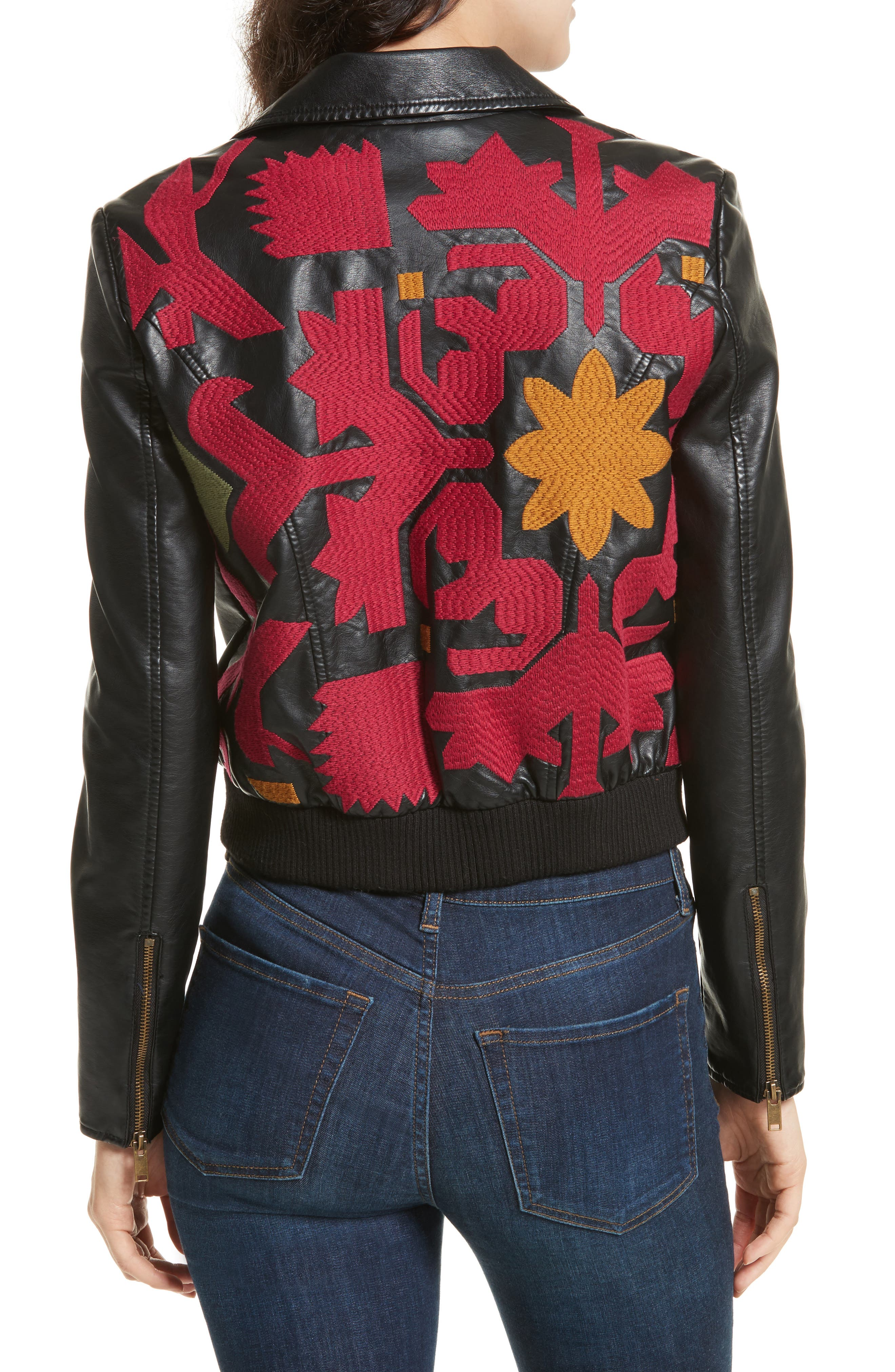 Embroidered Faux Leather Moto Jacket,                             Alternate thumbnail 2, color,                             001