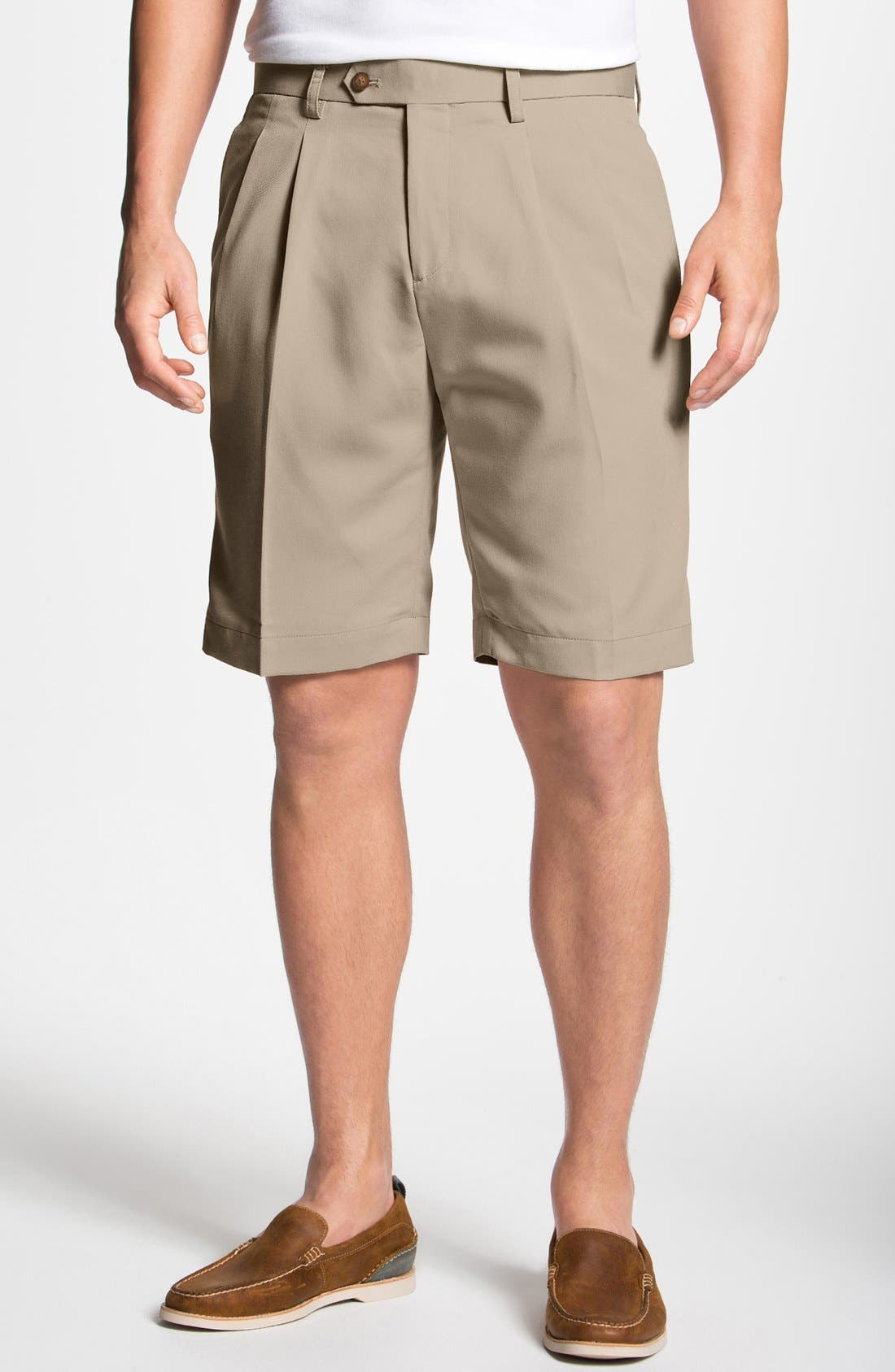 Double Pleated Microfiber Twill Shorts,                             Main thumbnail 1, color,                             SAND
