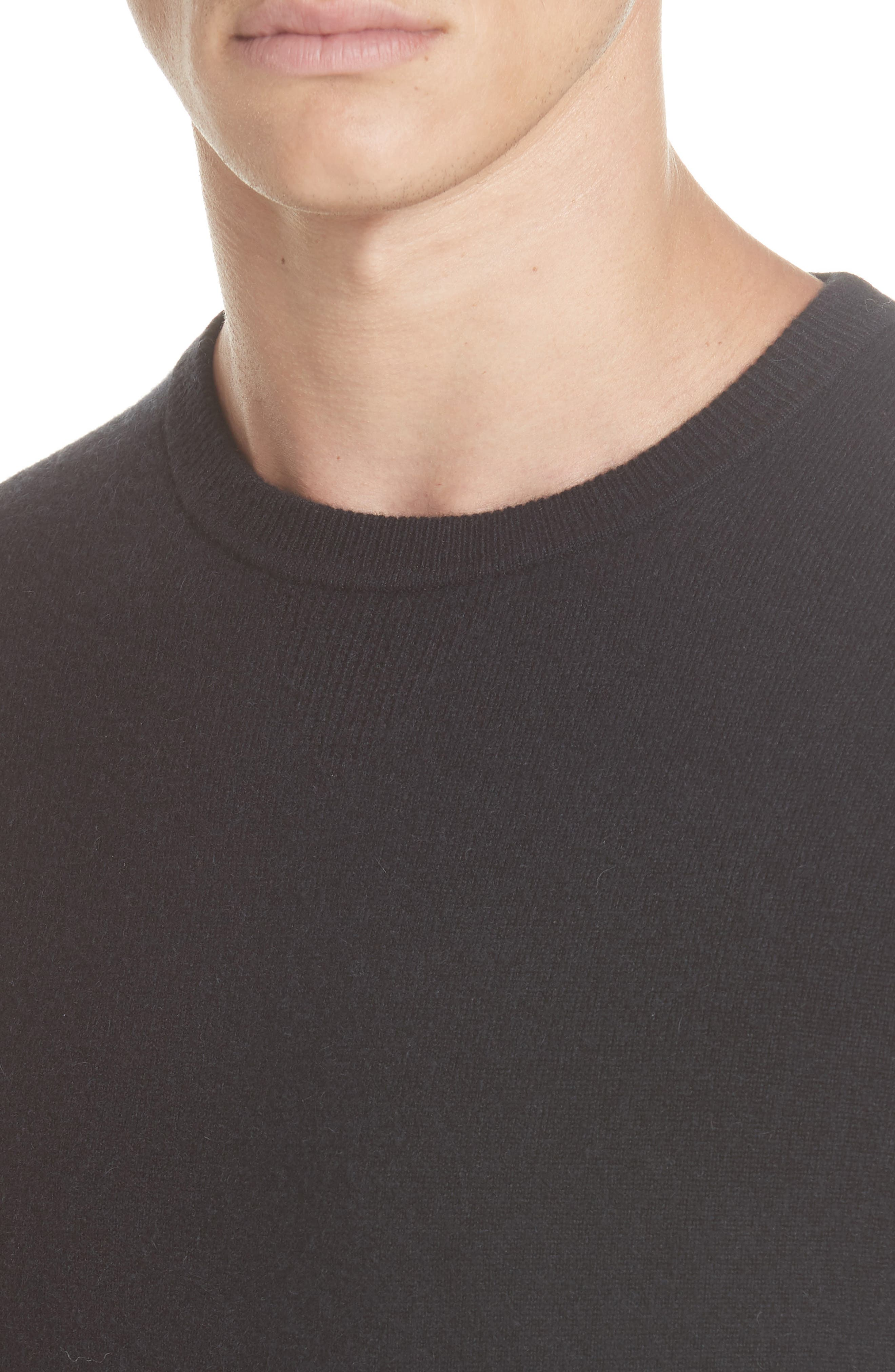 Cashmere Blend Crewneck Sweater,                             Alternate thumbnail 4, color,                             BLACK