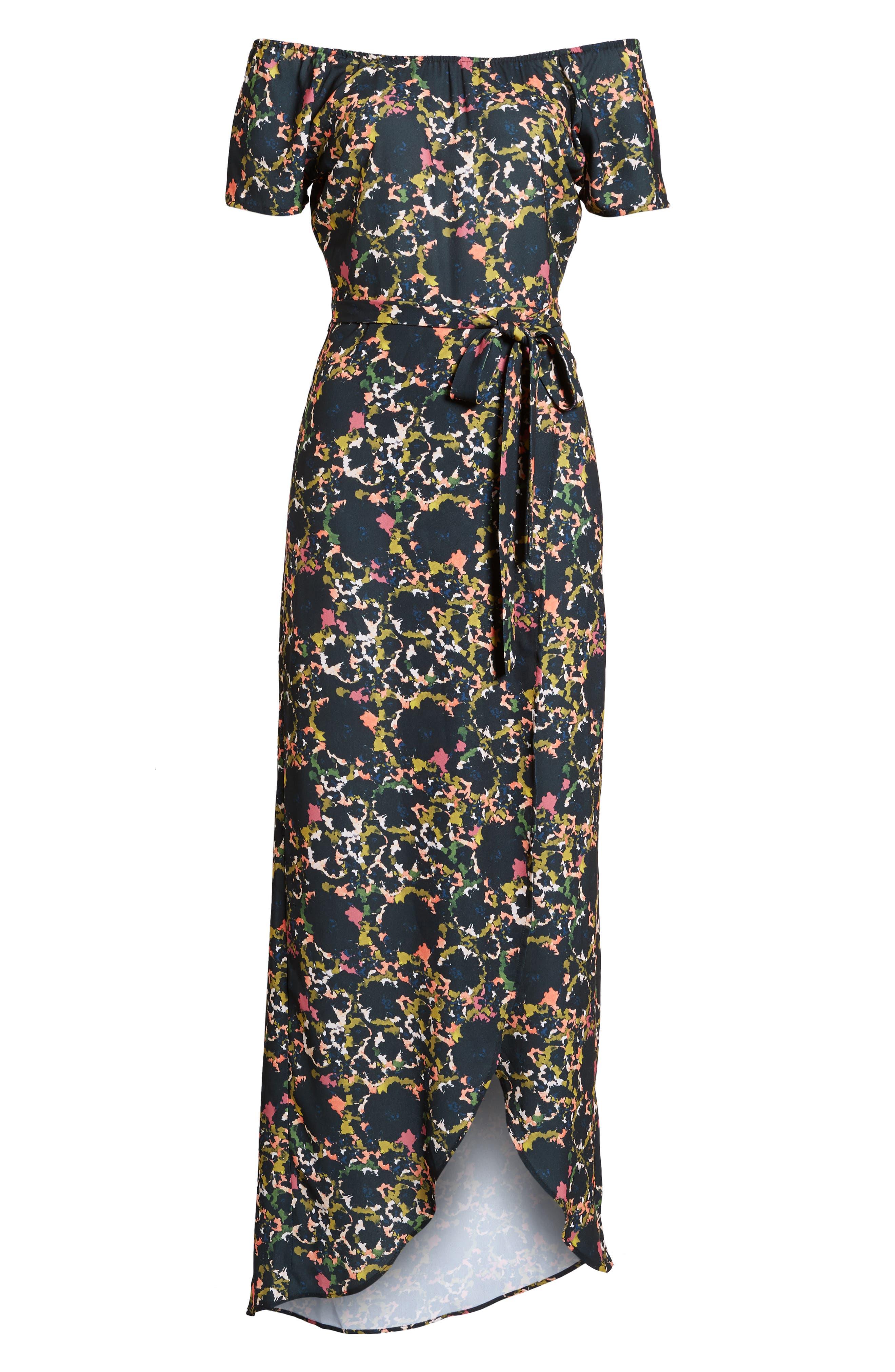 Off the Shoulder Crepe Maxi Dress,                             Alternate thumbnail 8, color,