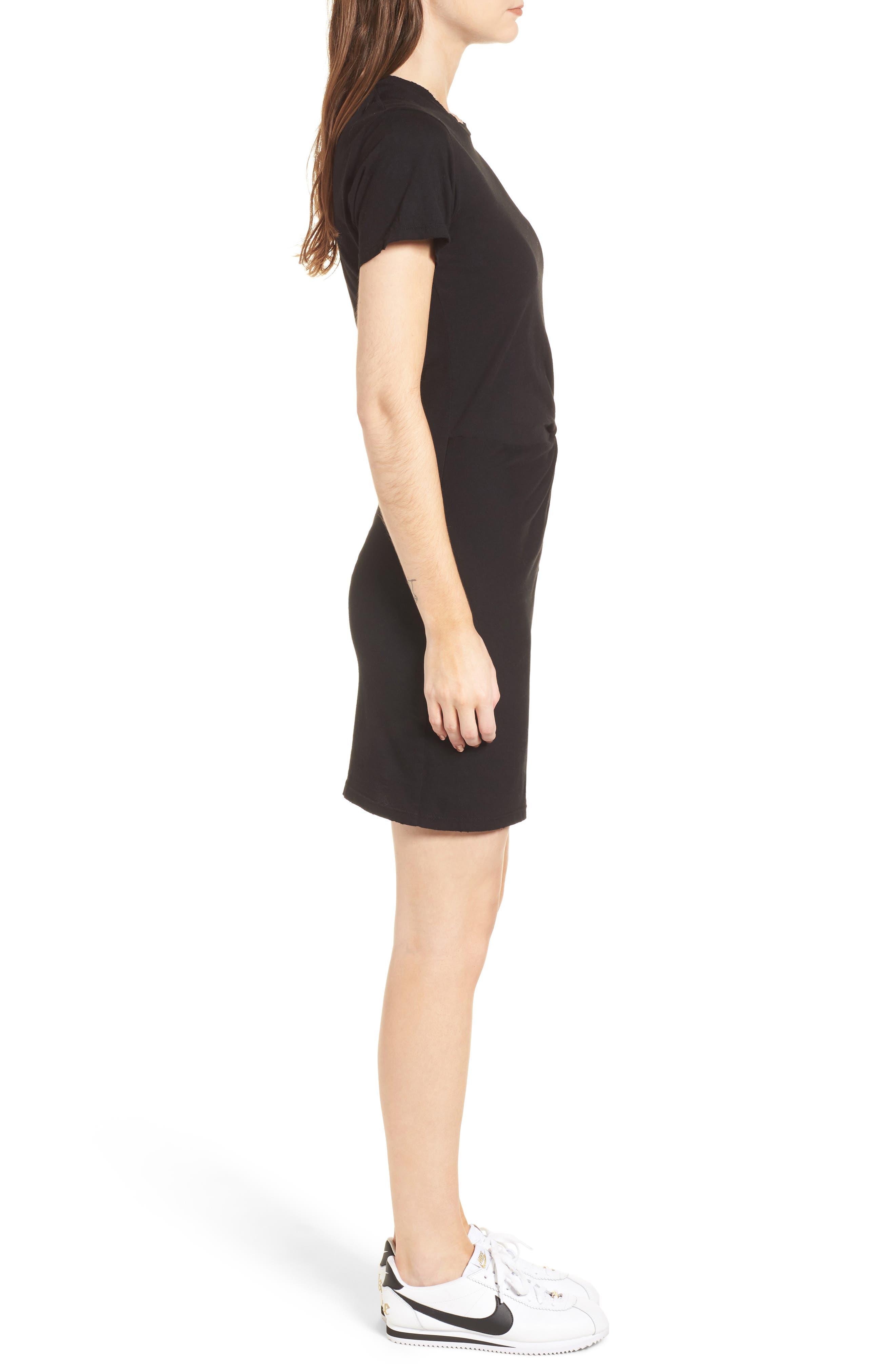 Jazz Knotted T-Shirt Dress,                             Alternate thumbnail 3, color,                             BLACK CAT