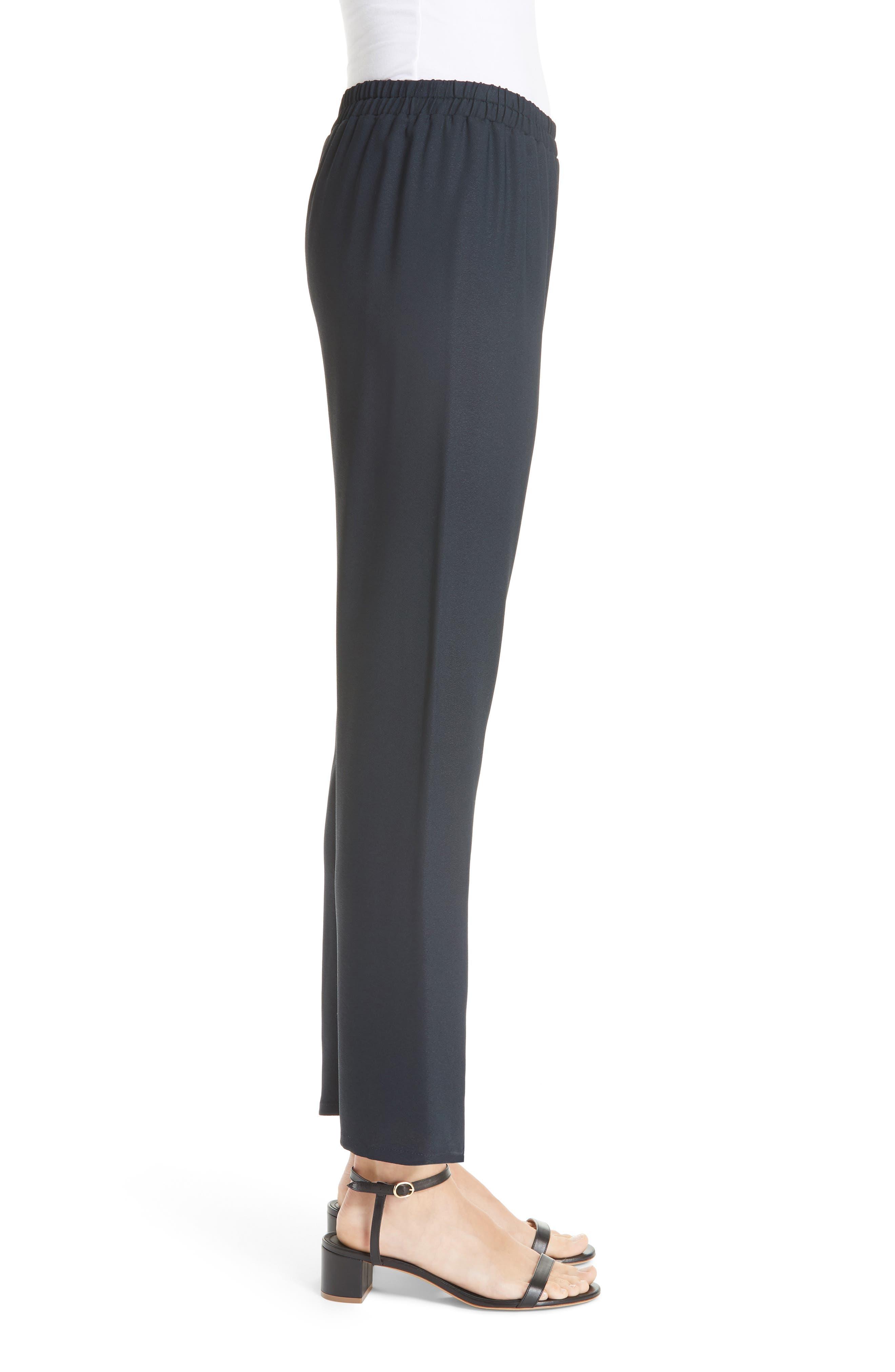 Straight Leg Crepe Pants,                             Alternate thumbnail 3, color,                             BLU