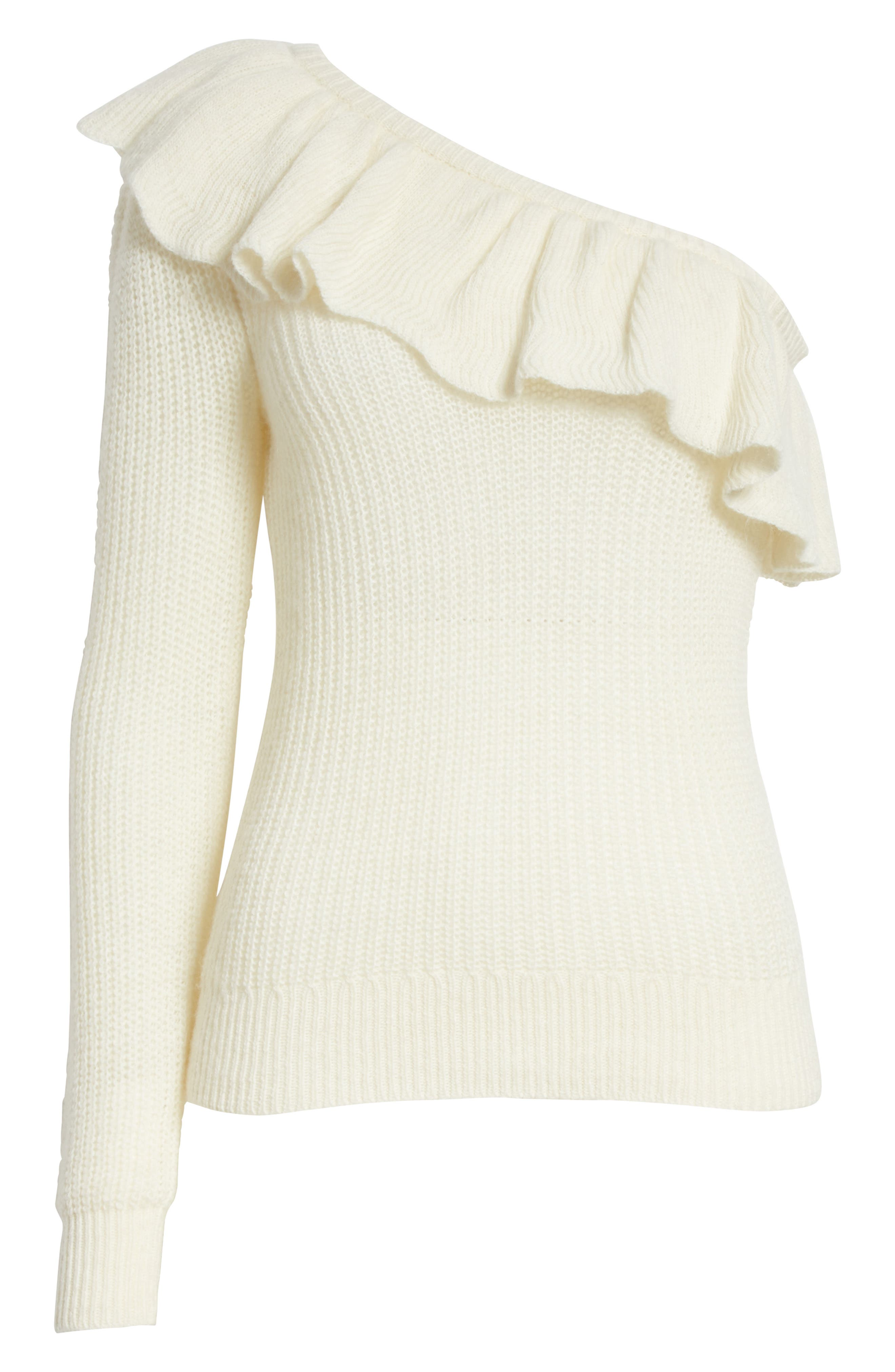 One-Shoulder Ruffle Sweater,                             Alternate thumbnail 6, color,                             907
