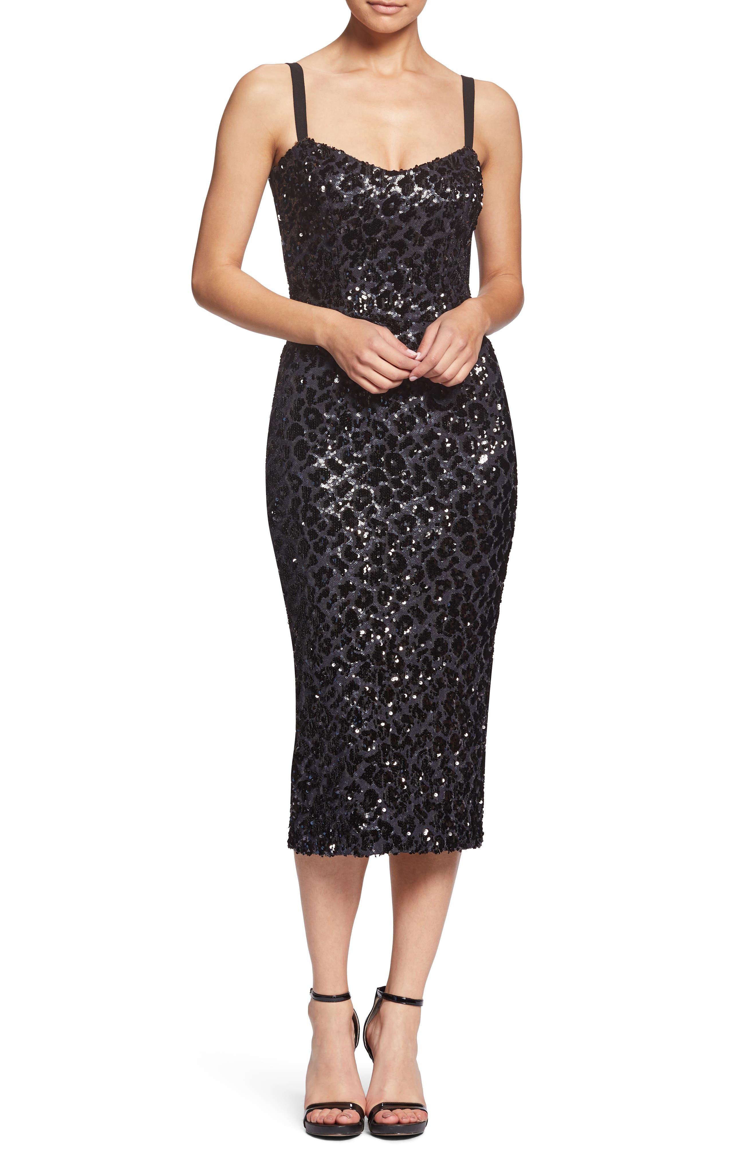 Dress The Population Lynda Leopard Sparkle Tea-Length Dress, Black
