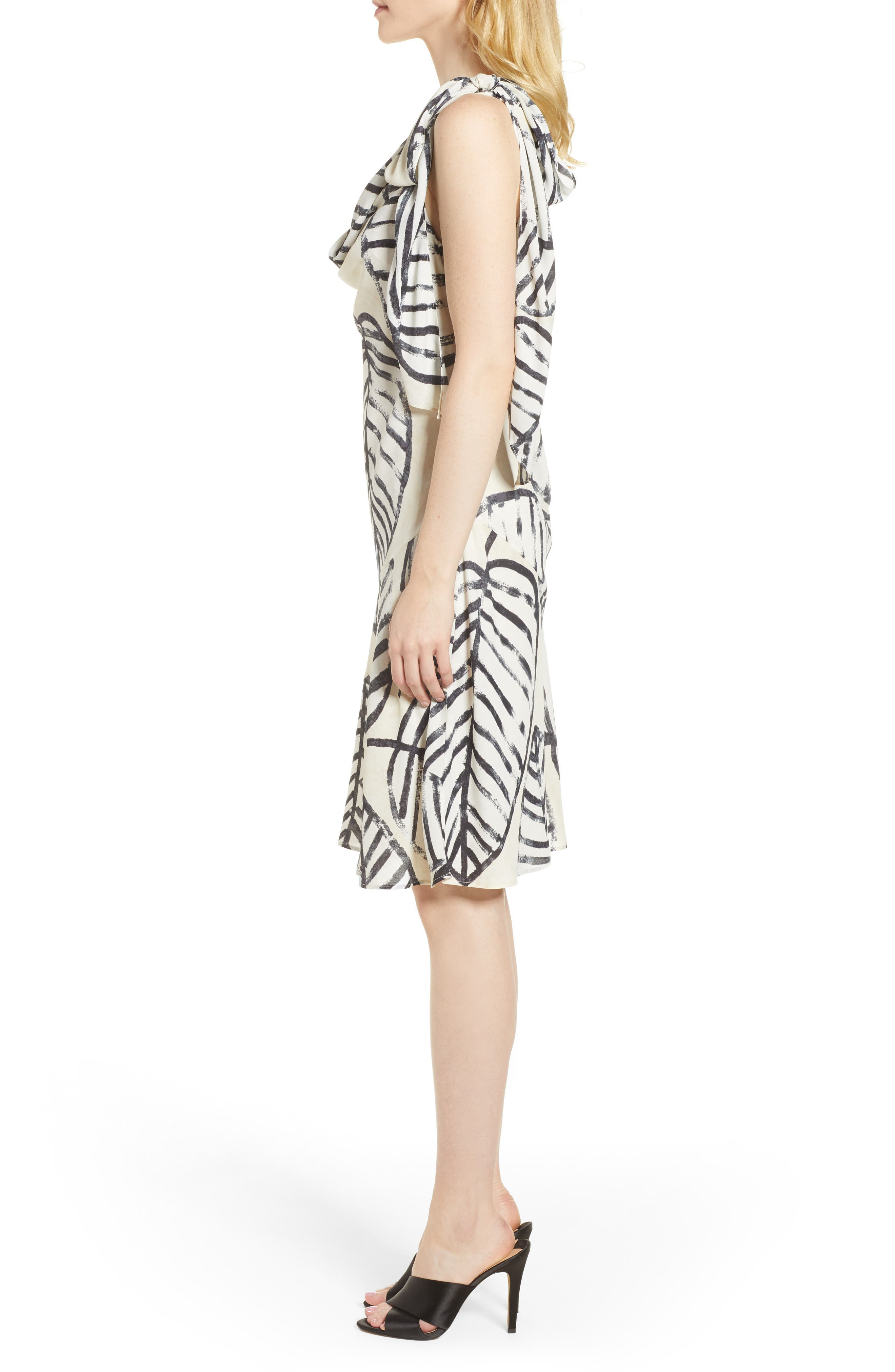 Etched Leaves Tie Dress,                             Alternate thumbnail 3, color,                             250