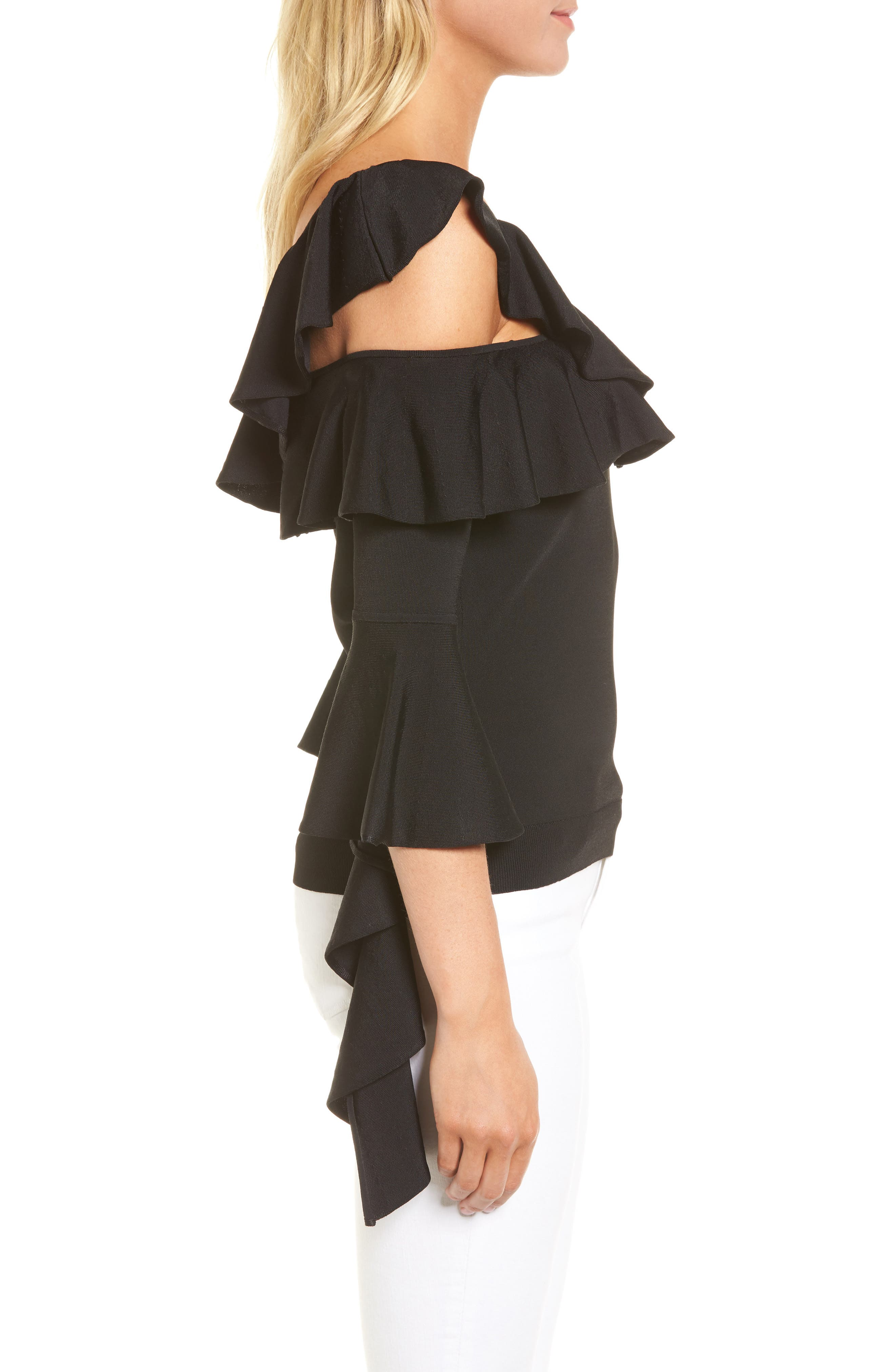 Cascading Ruffle One-Shoulder Top,                             Alternate thumbnail 3, color,                             001