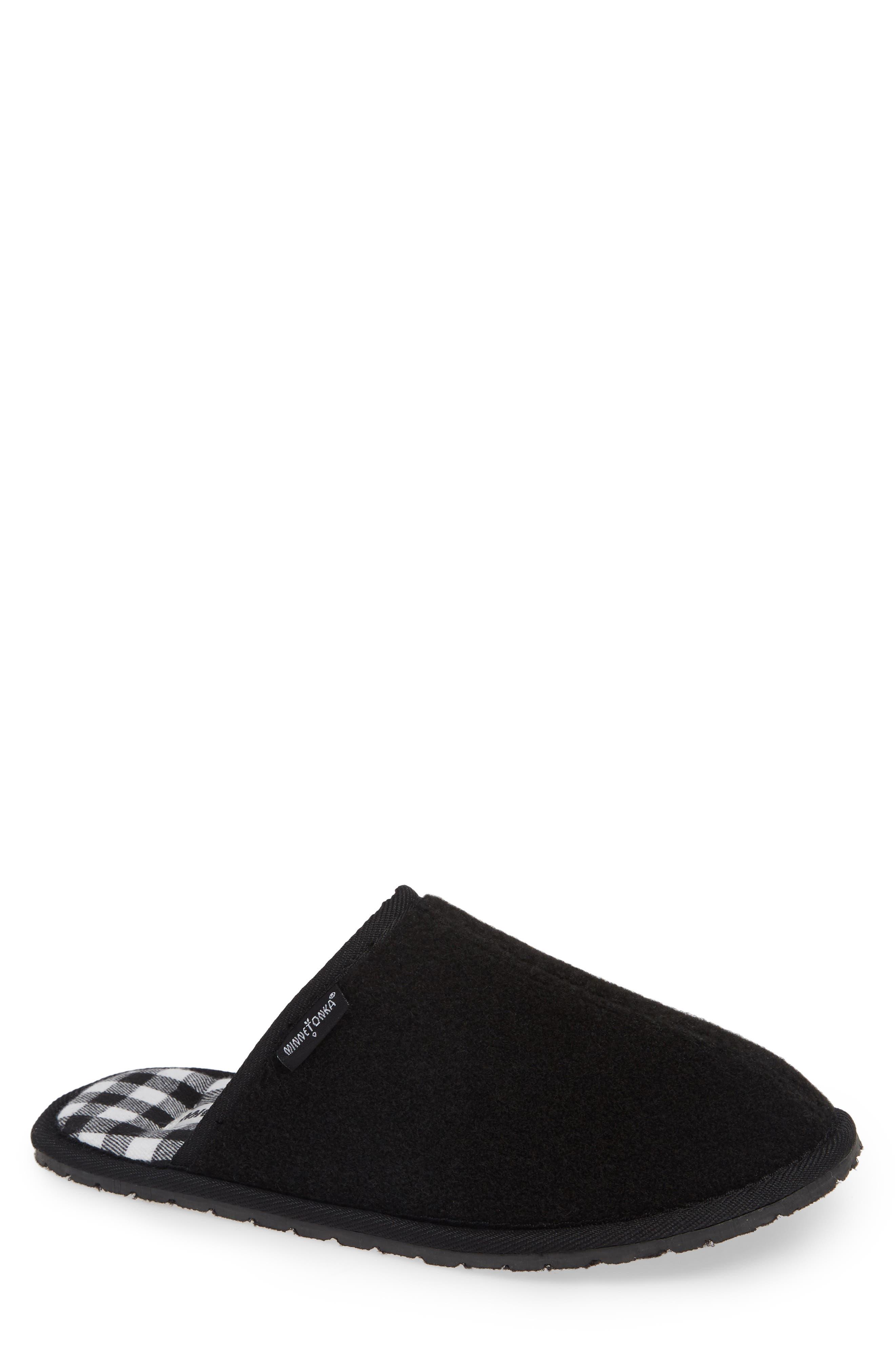 Franklin Scuff Slipper,                         Main,                         color, BLACK PLAID