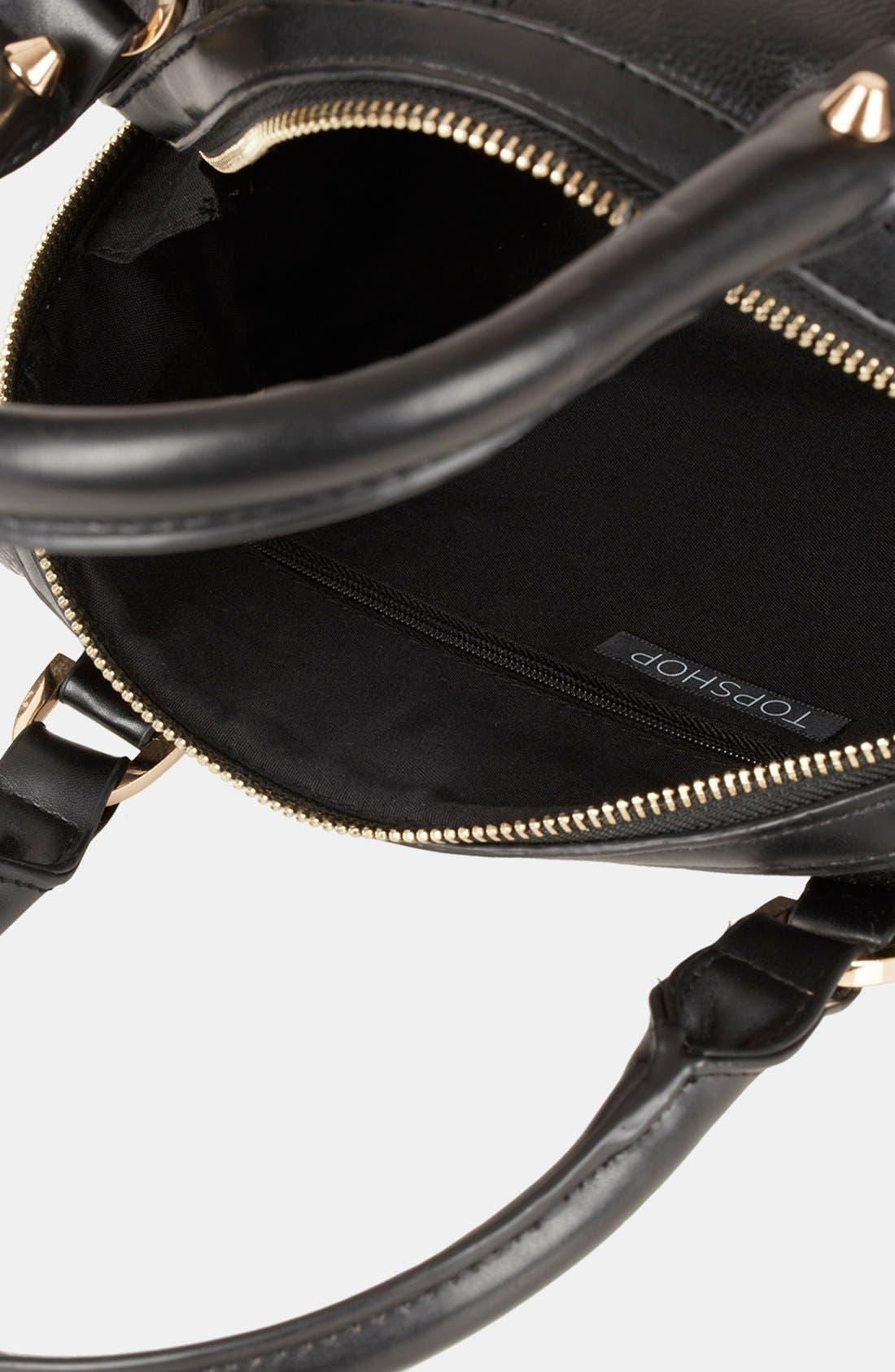 'Medium' Faux Leather Bowling Bag,                             Alternate thumbnail 4, color,                             001