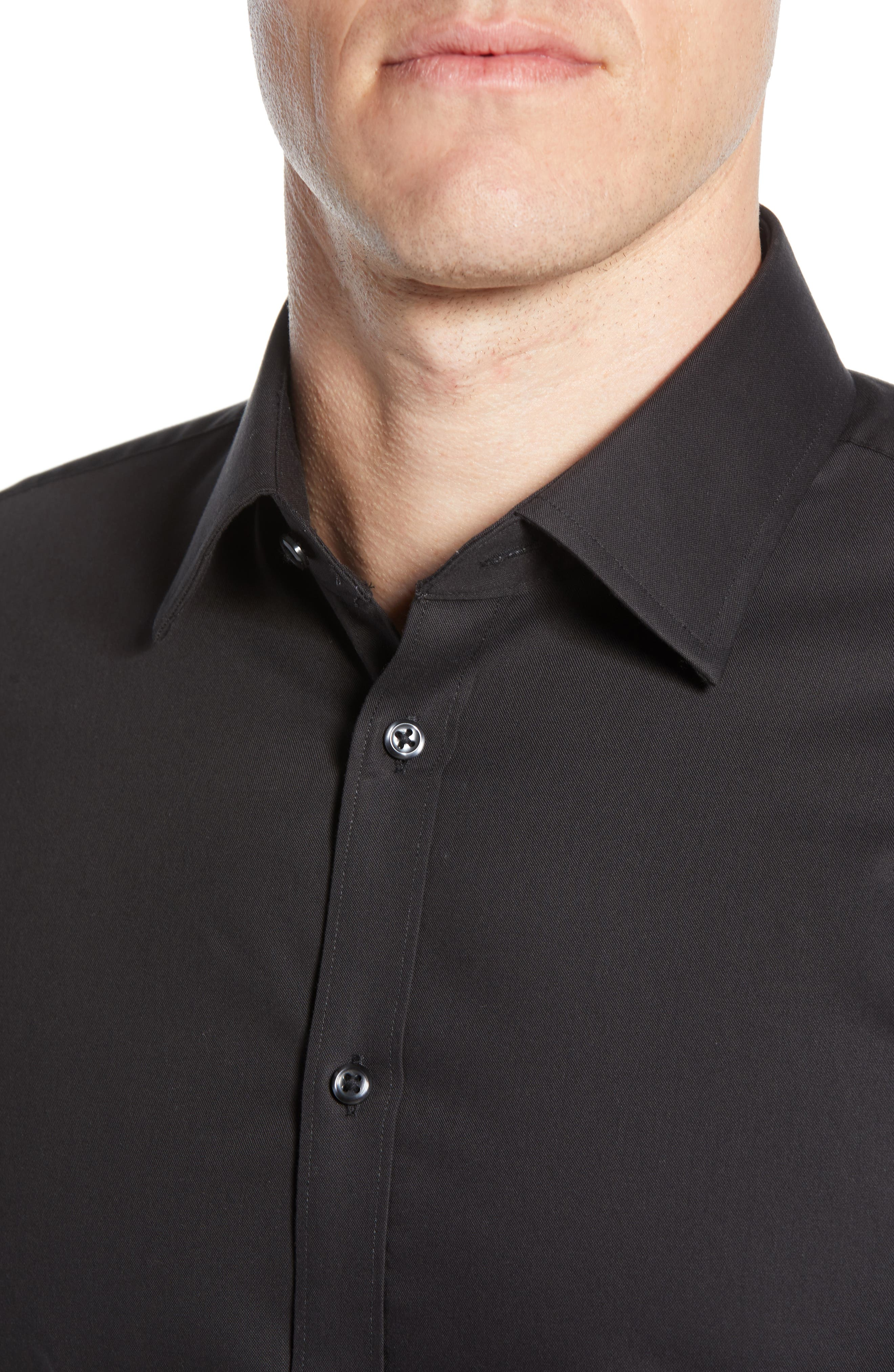 NORDSTROM MEN'S SHOP,                             Extra Trim Fit Non-Iron Solid Dress Shirt,                             Alternate thumbnail 2, color,                             BLACK ROCK
