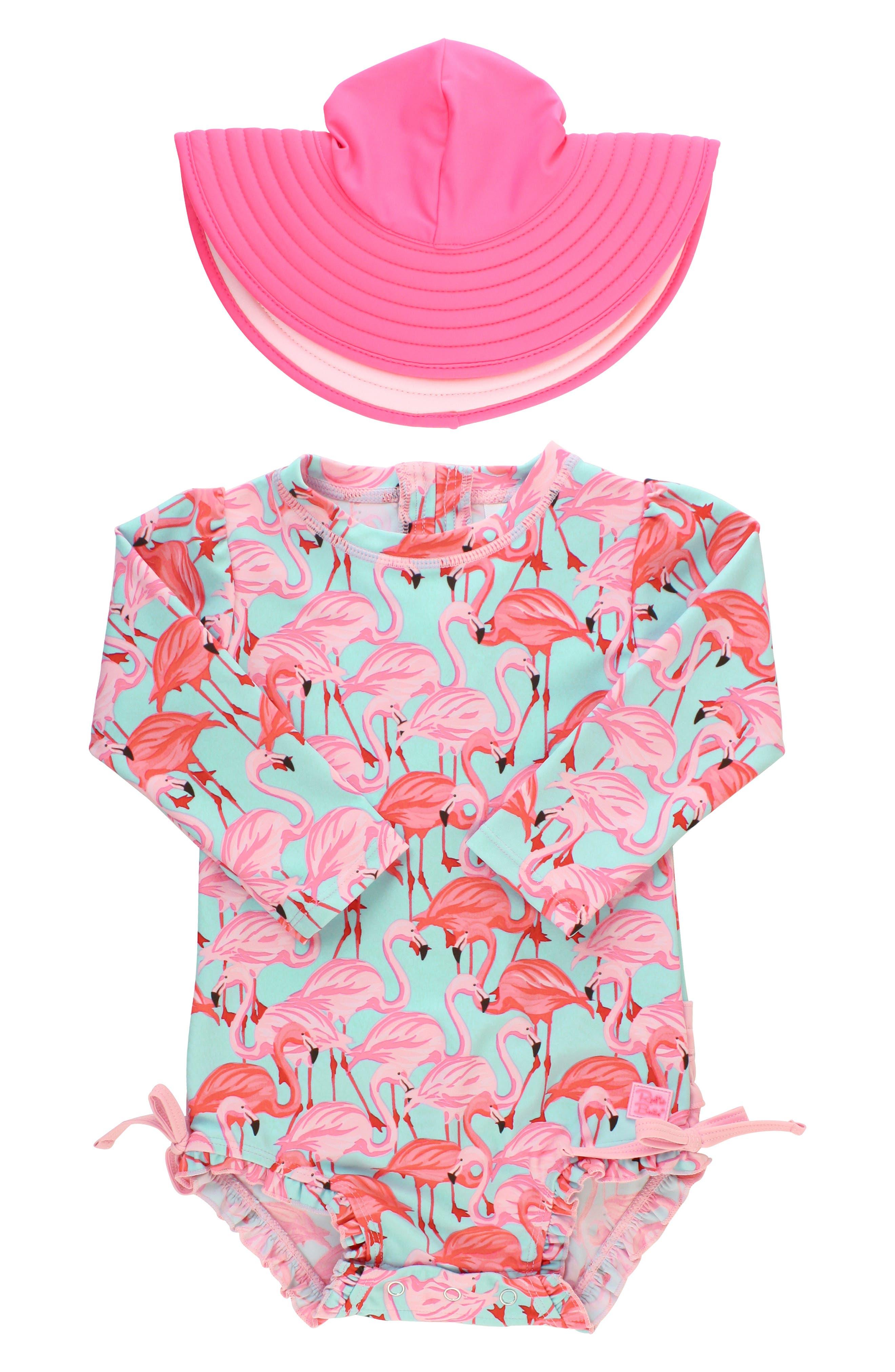 Infant Girls Rufflebutts Flamingo OnePiece Rashghuard Swimsuit  Hat Swim Set