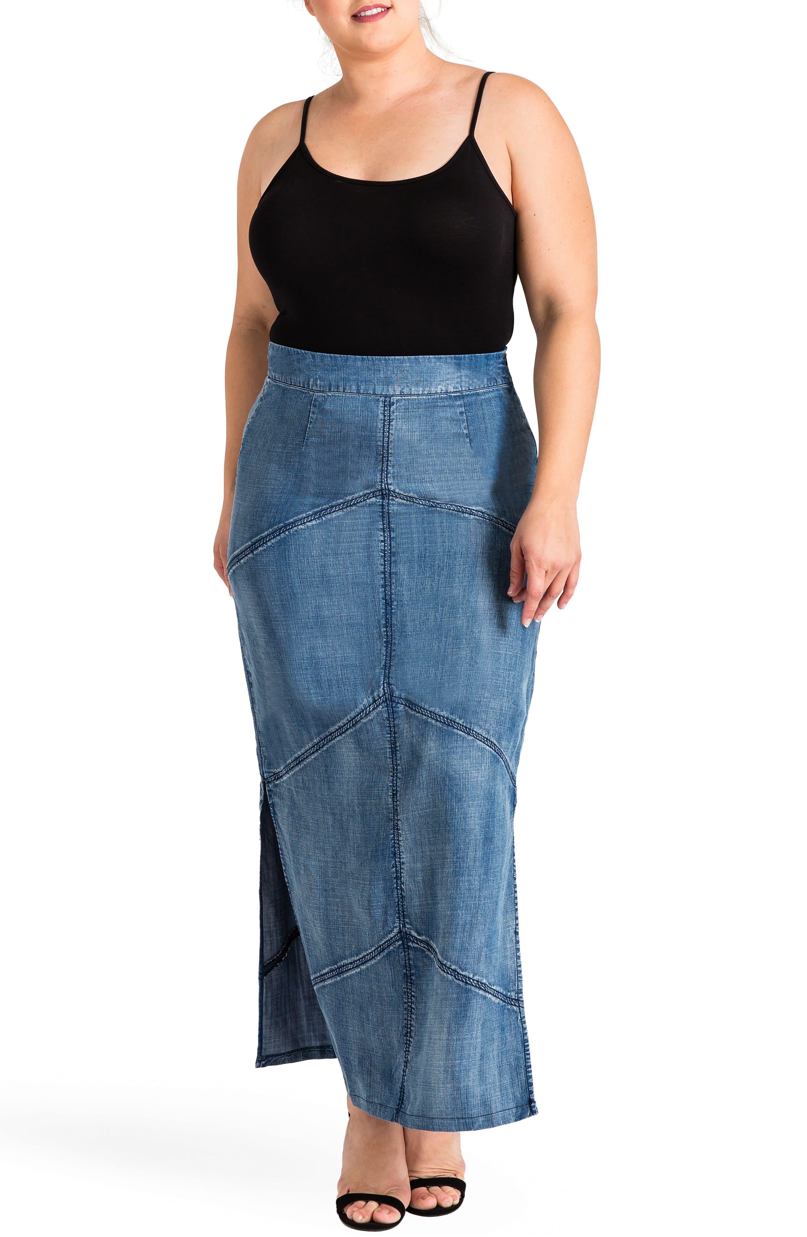 Paulina Maxi Pencil Skirt,                             Alternate thumbnail 4, color,                             DARK BLUE