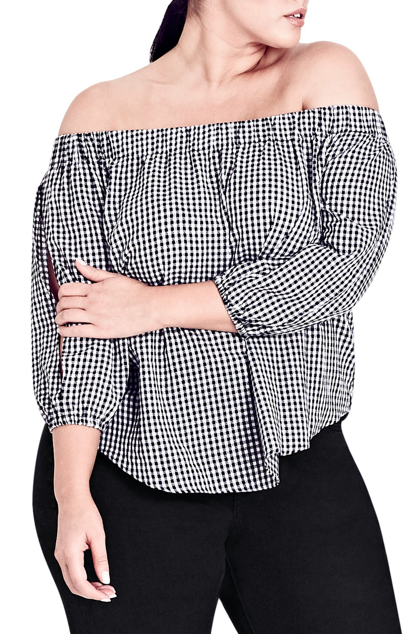 Gingham Off the Shoulder Top,                             Main thumbnail 1, color,                             BLACK / WHITE