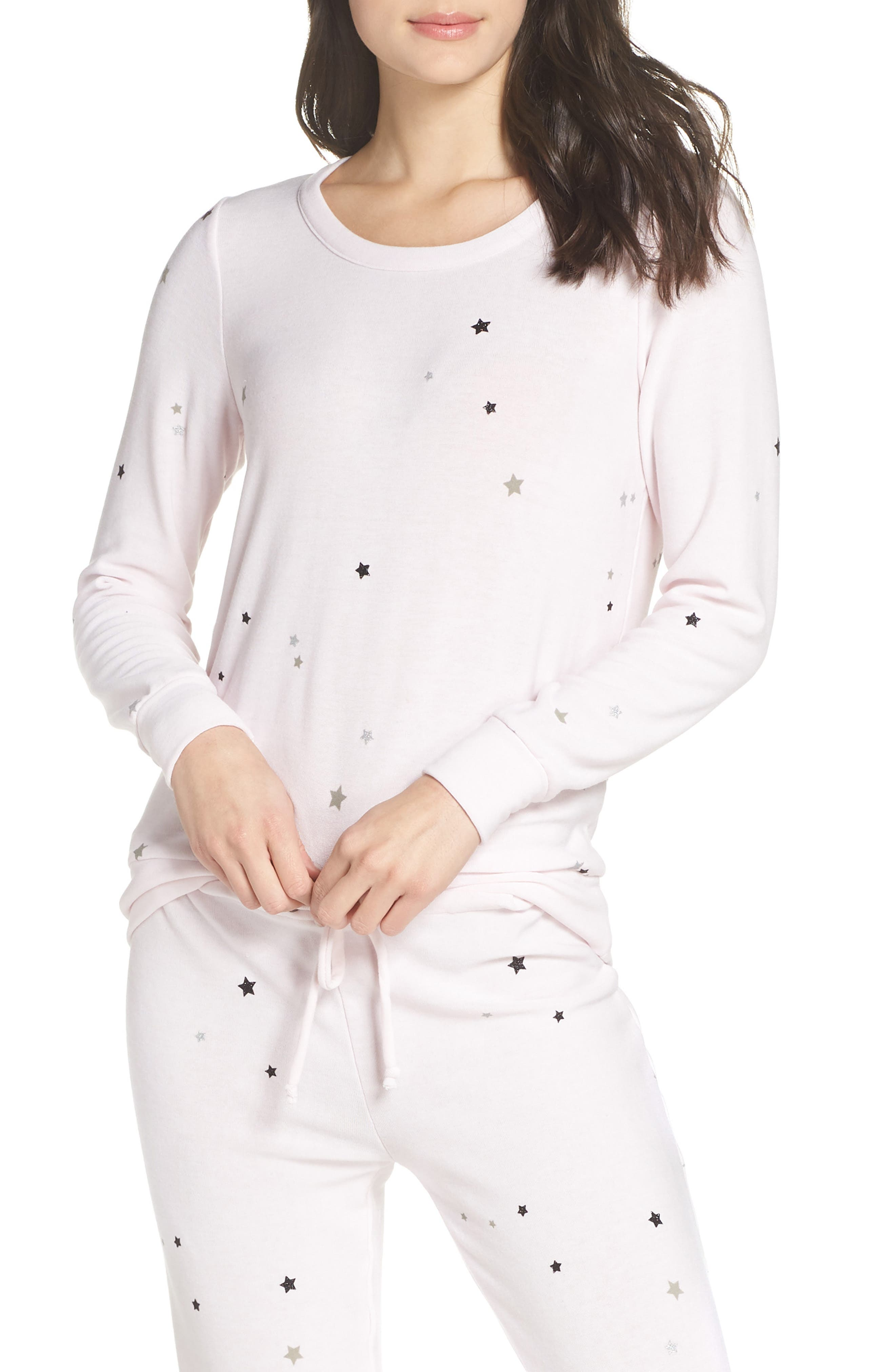 CHASER Glitter Stars Sweatshirt in Pearl