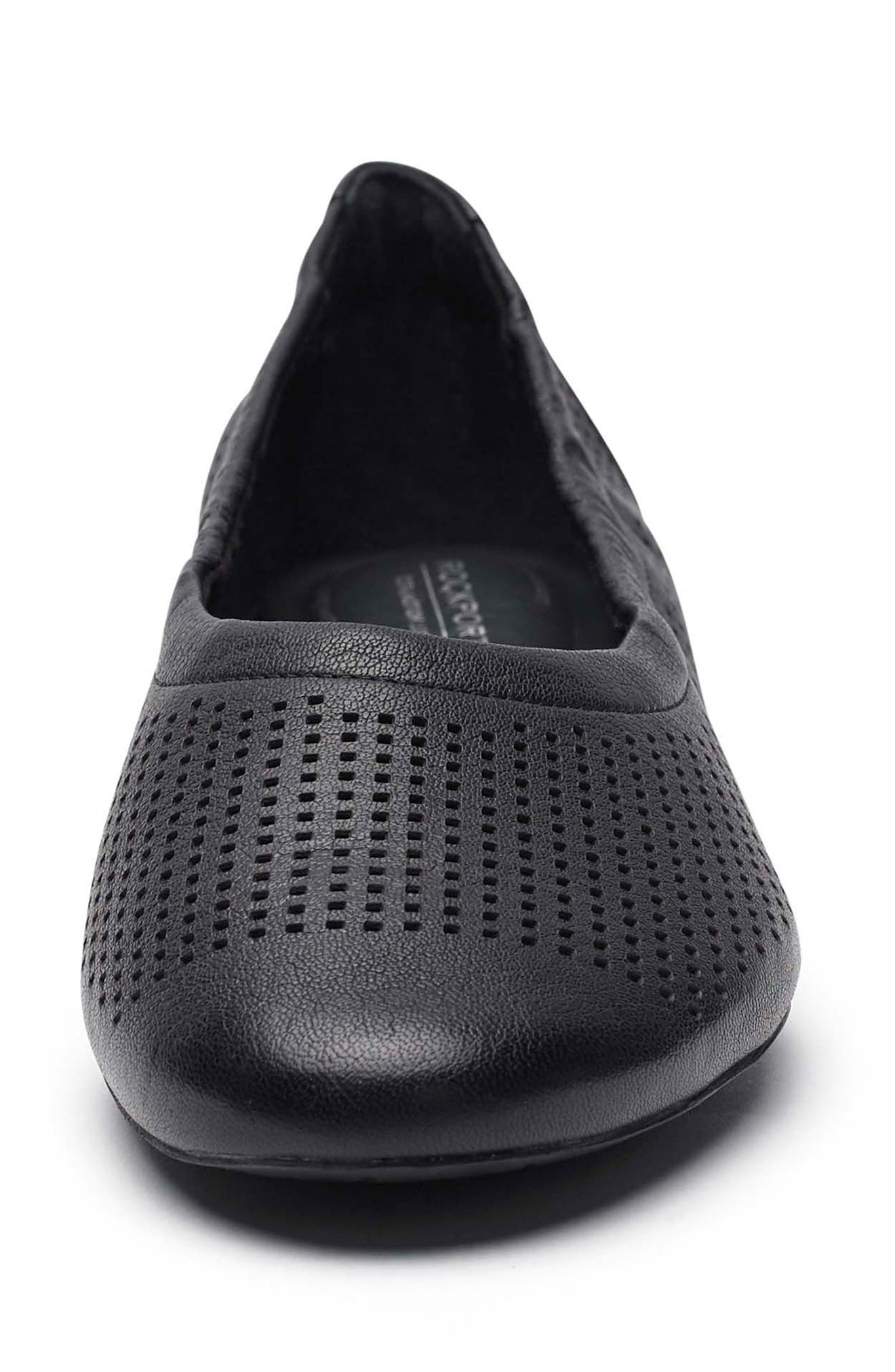 Total Motion Luxe Flat,                             Alternate thumbnail 4, color,                             BLACK LEATHER