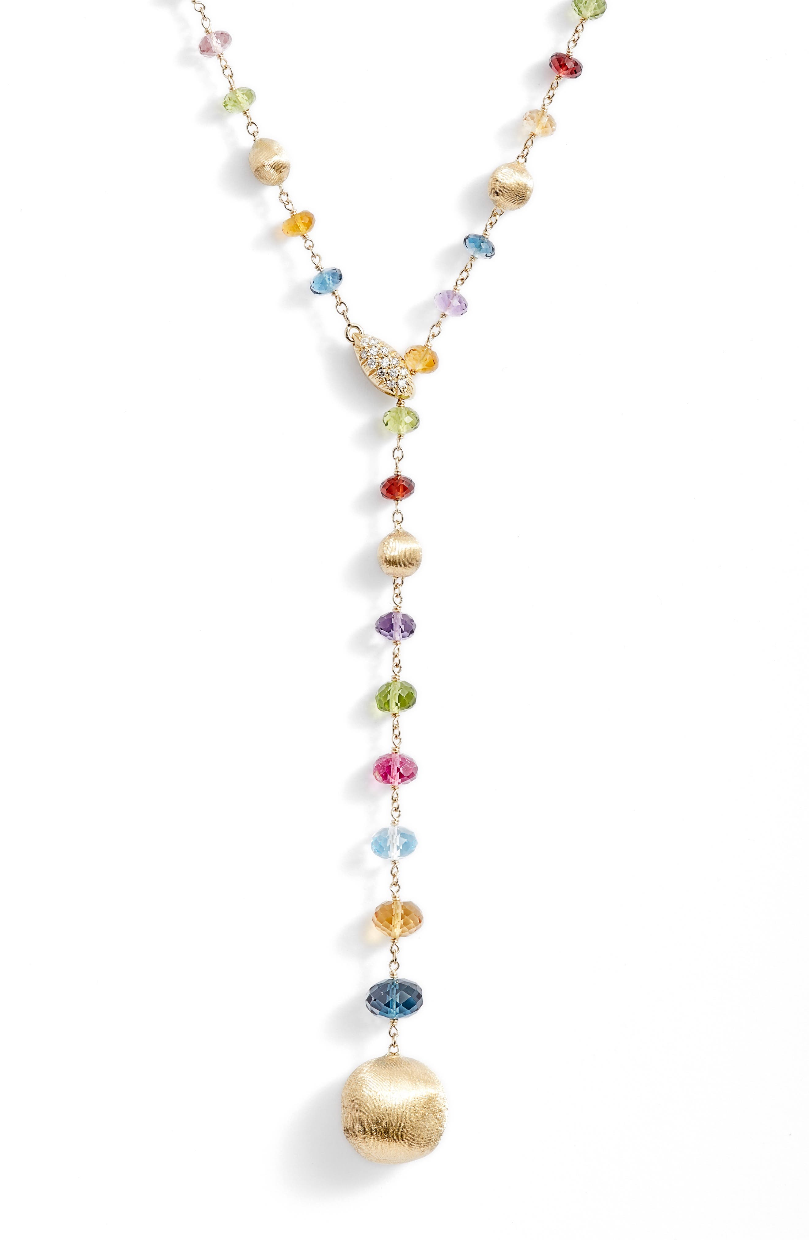 Africa Semiprecious Stone Lariat Necklace,                             Alternate thumbnail 2, color,                             YELLOW GOLD
