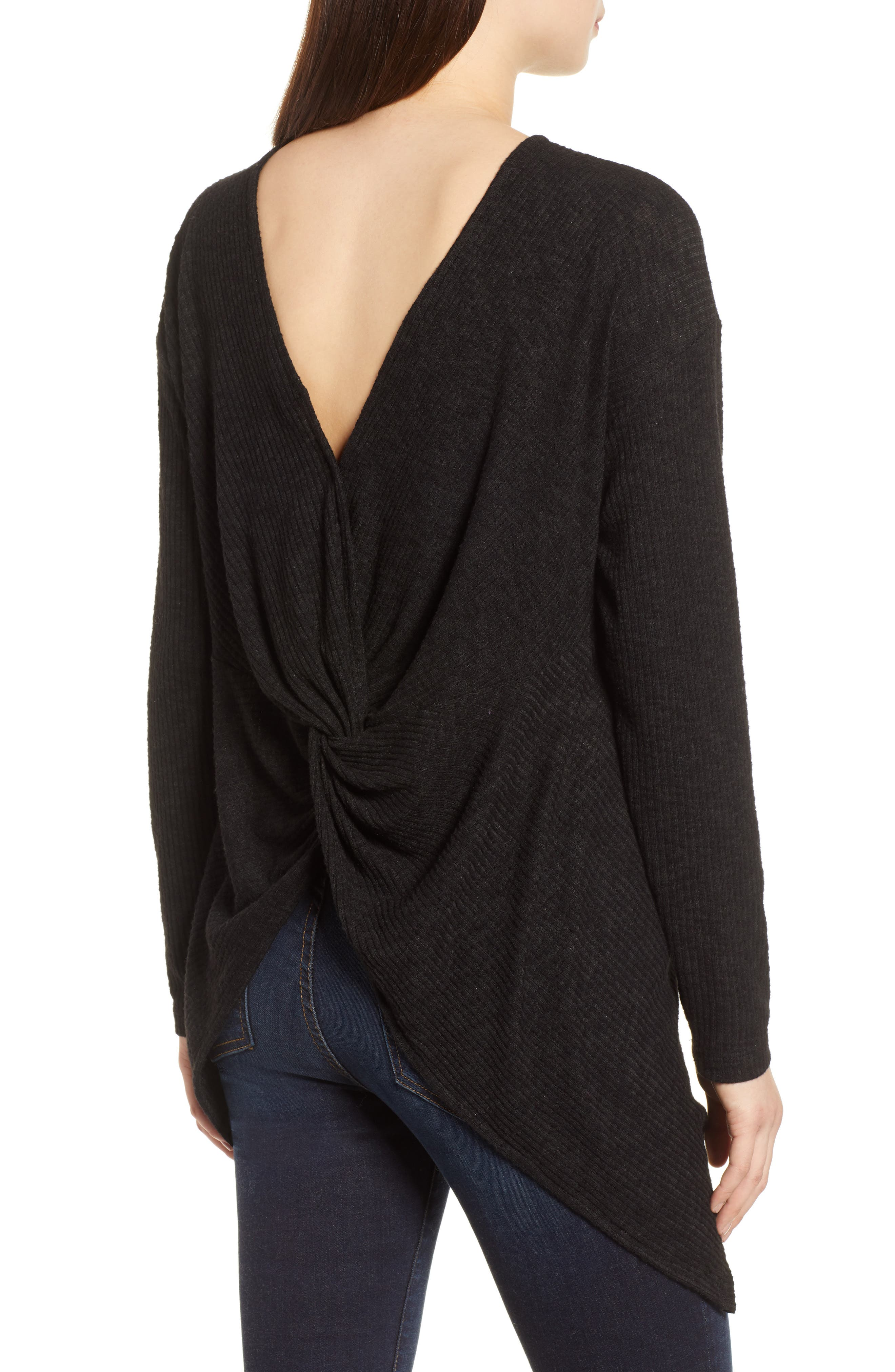Ribbed Cozy Fleece Twist Back Top,                             Alternate thumbnail 5, color,