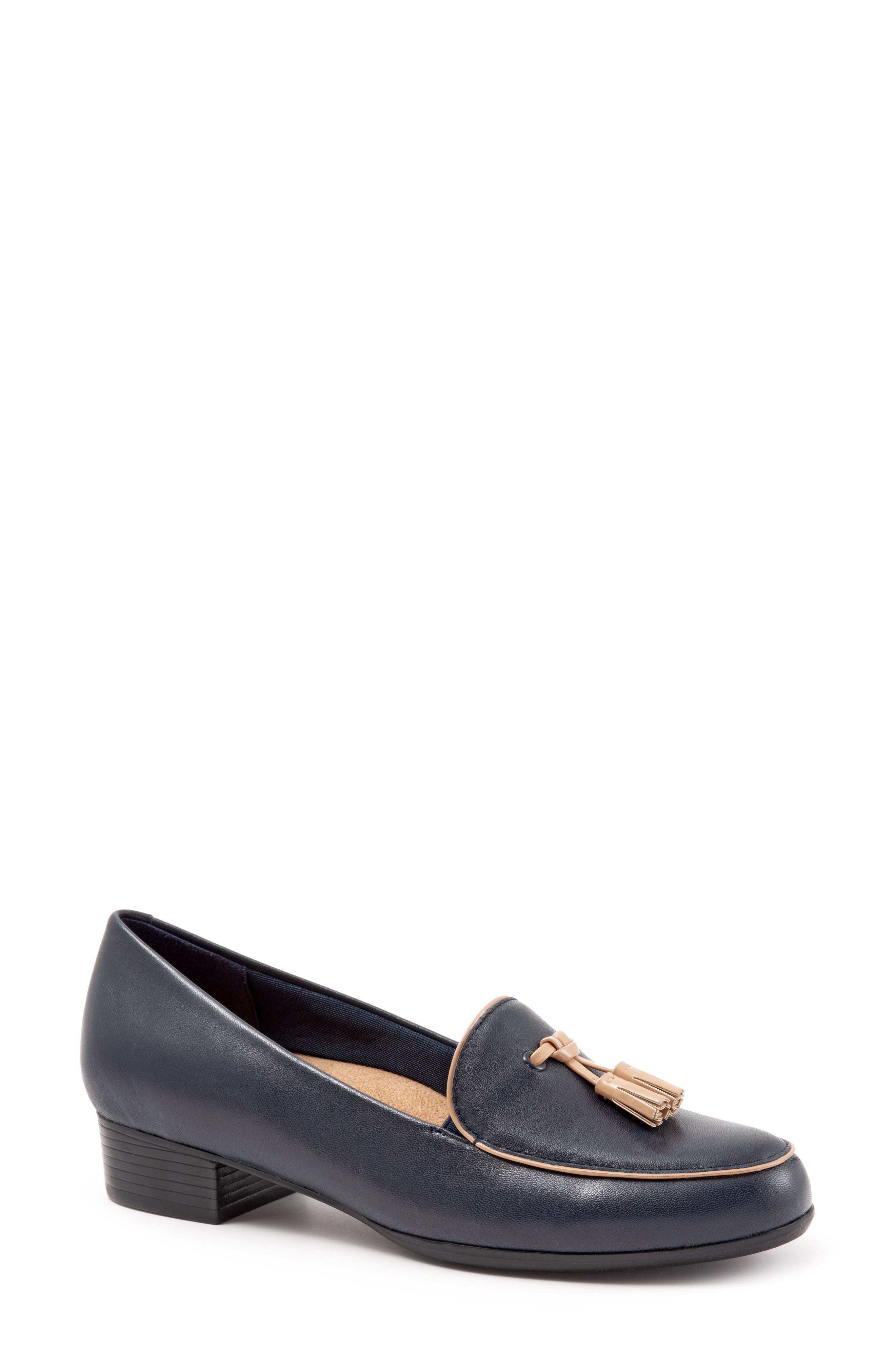 TROTTERS Mary Tassel Loafer, Main, color, NAVY LEATHER