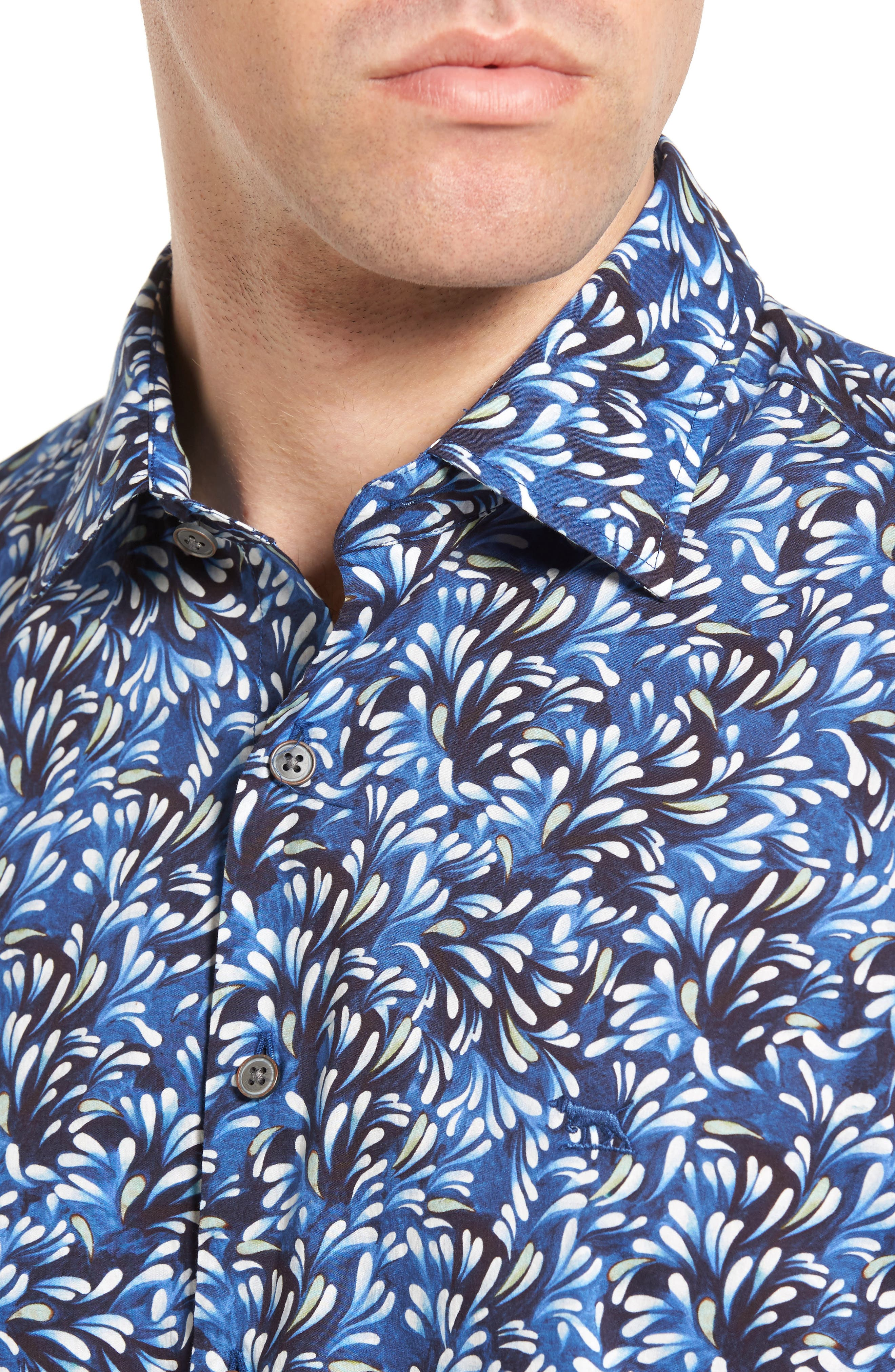 Sunset Road Original Fit Print Sport Shirt,                             Alternate thumbnail 4, color,