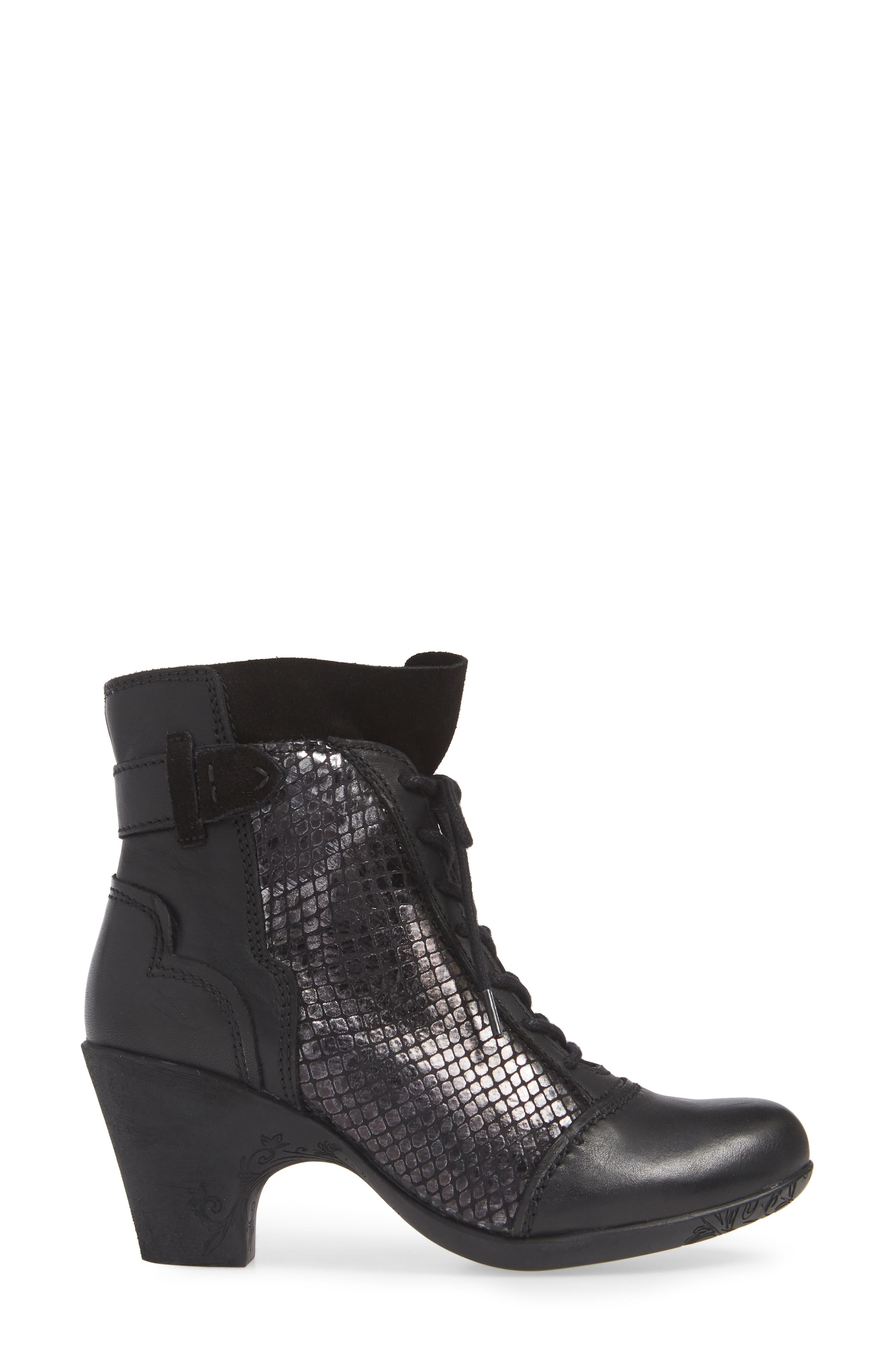 'Jesse' Lace-Up Bootie,                             Alternate thumbnail 3, color,                             BLACK TAIPAN LEATHER