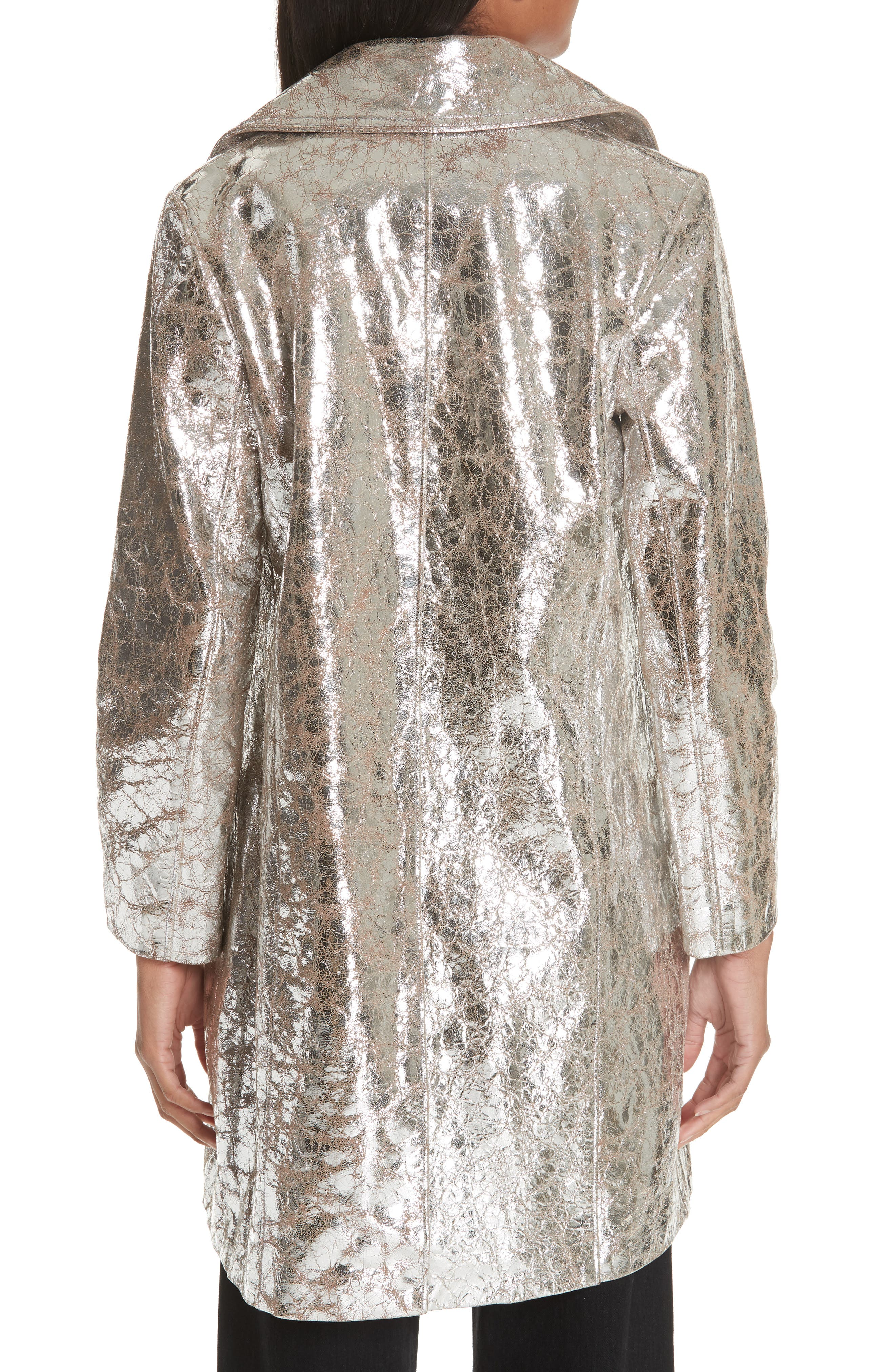 Double Breasted Metallic Lambskin Coat,                             Alternate thumbnail 2, color,                             040