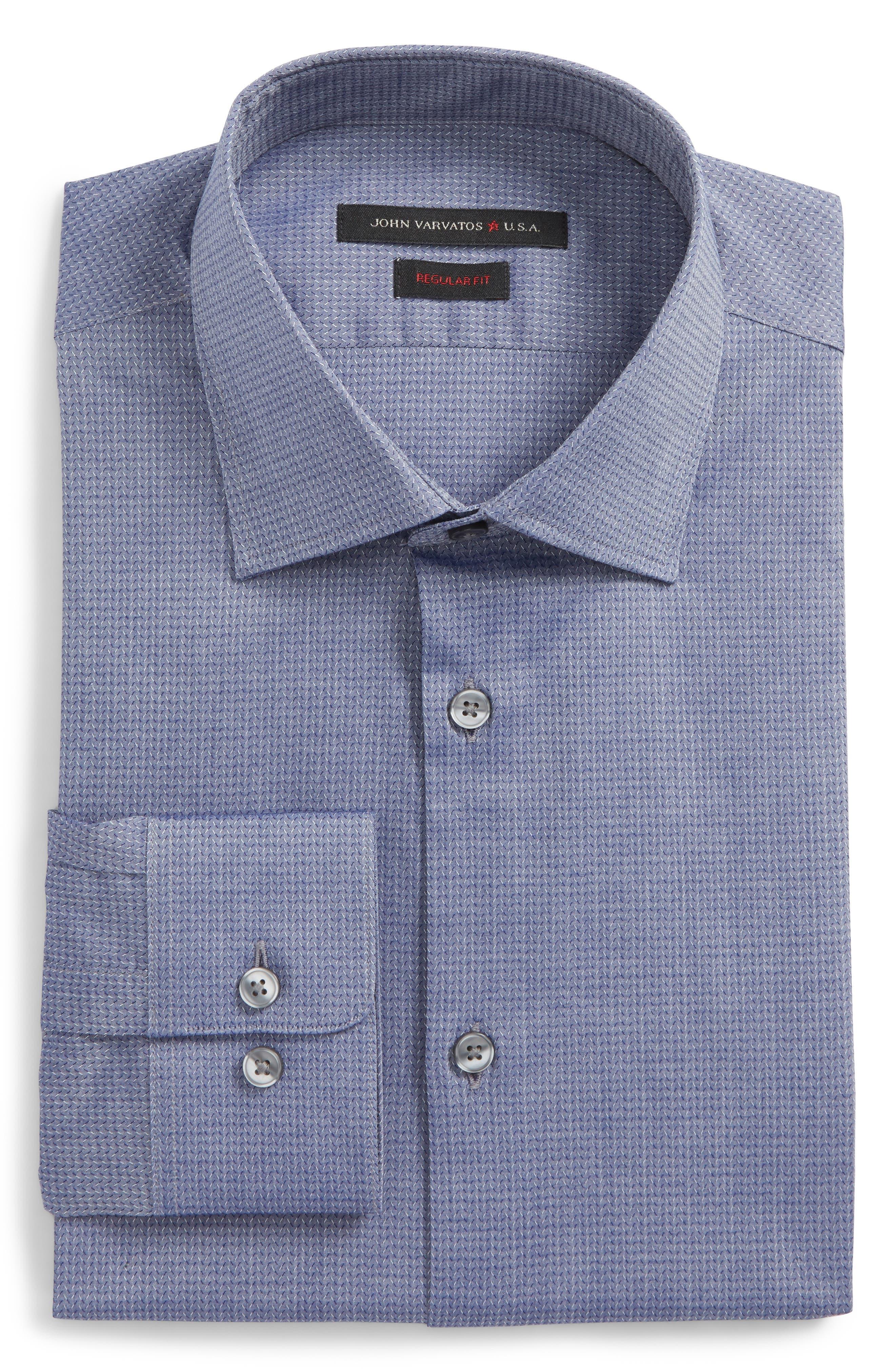 Regular Fit Stretch Print Dress Shirt,                             Alternate thumbnail 5, color,                             DEEP BLUE