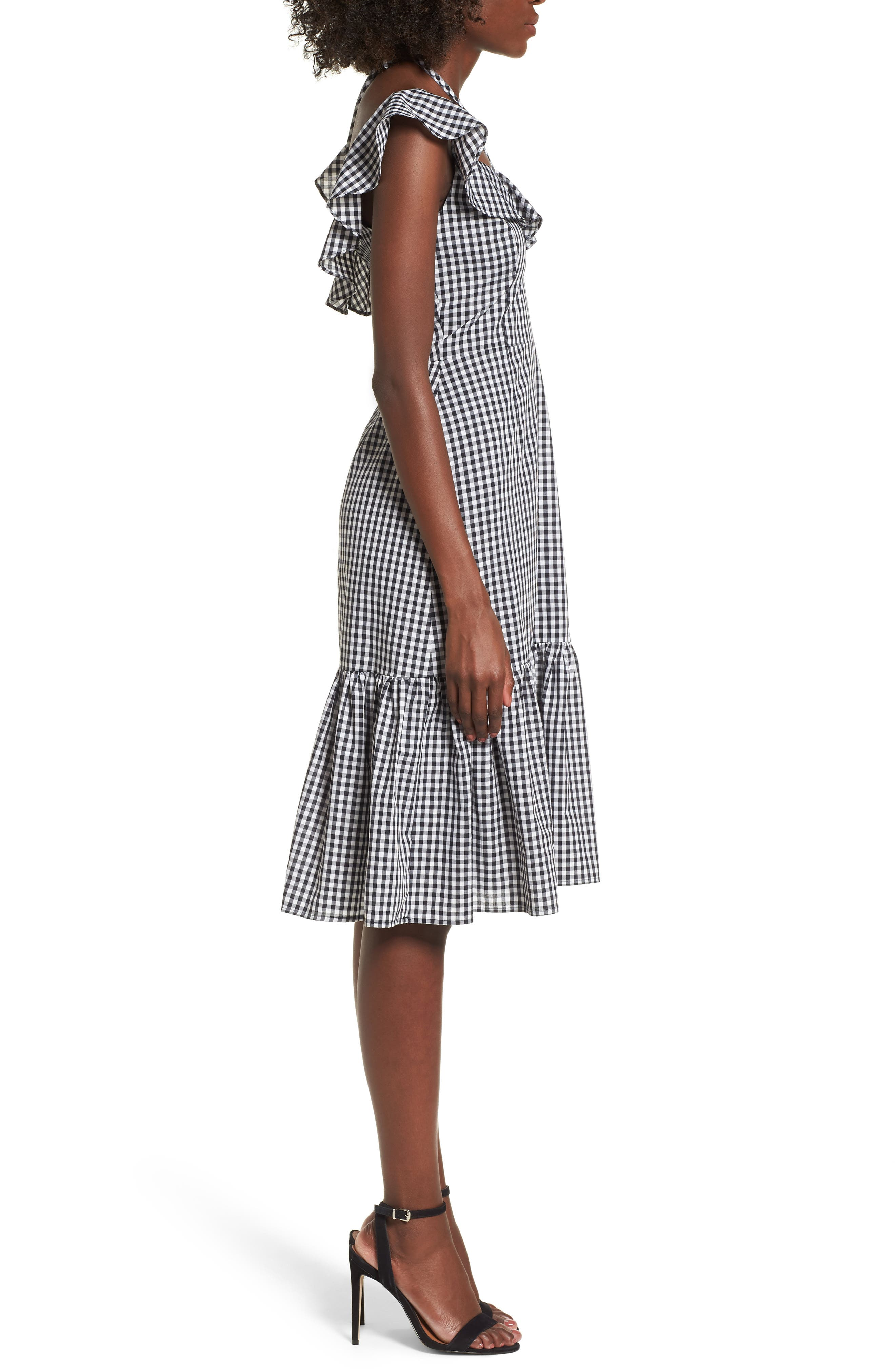 Zander Ruffle Midi Dress,                             Alternate thumbnail 3, color,                             001