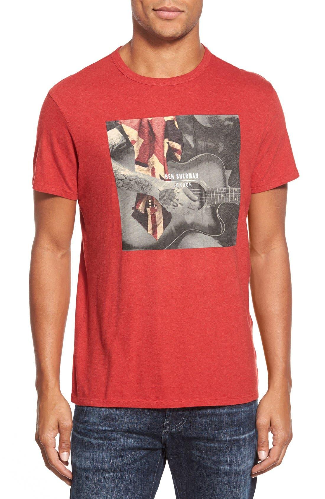 BEN SHERMAN,                             'Guitar Union Jack' T-Shirt,                             Main thumbnail 1, color,                             601