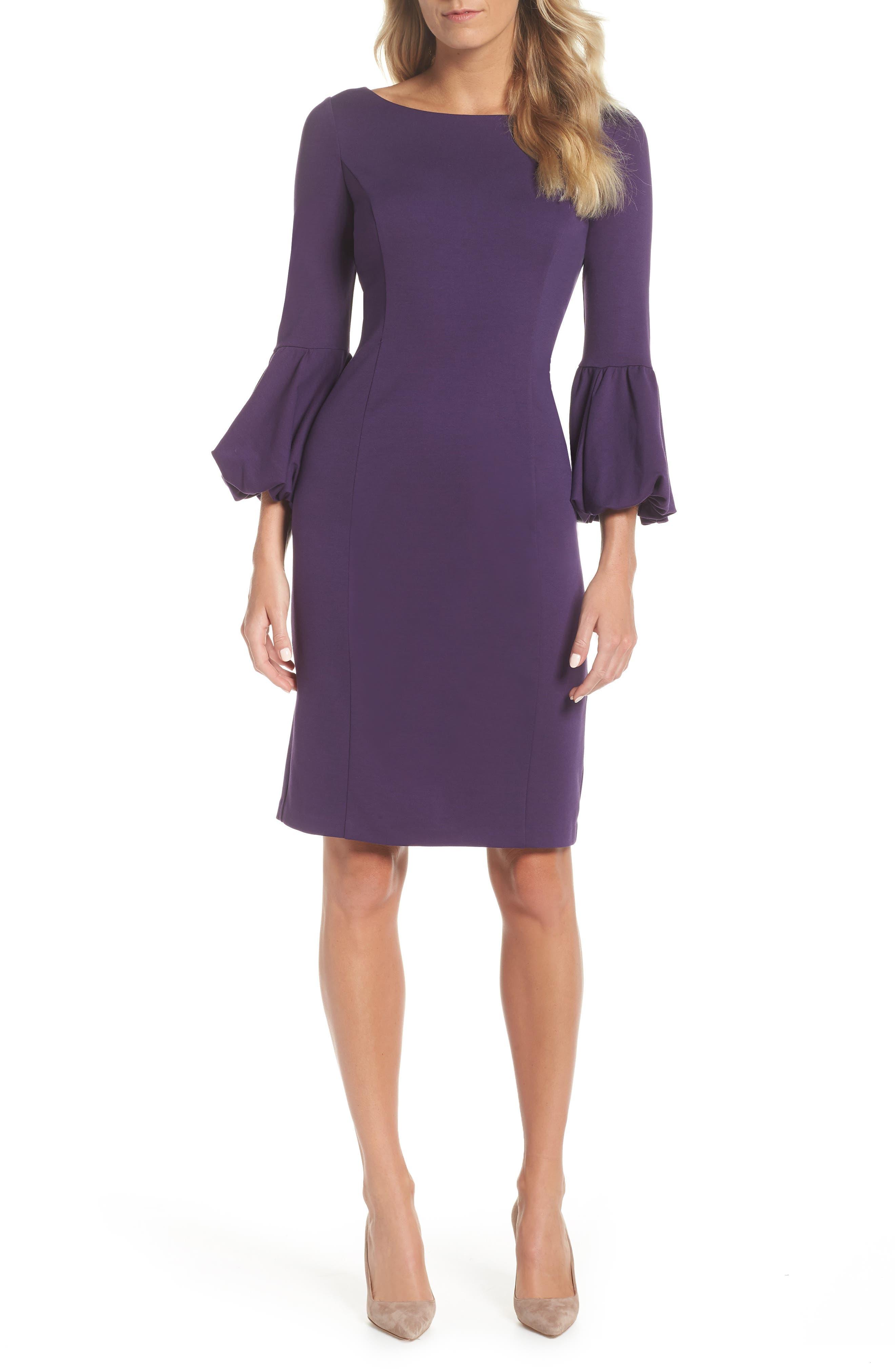 Eliza J Bell Sleeve Sheath Dress, Purple