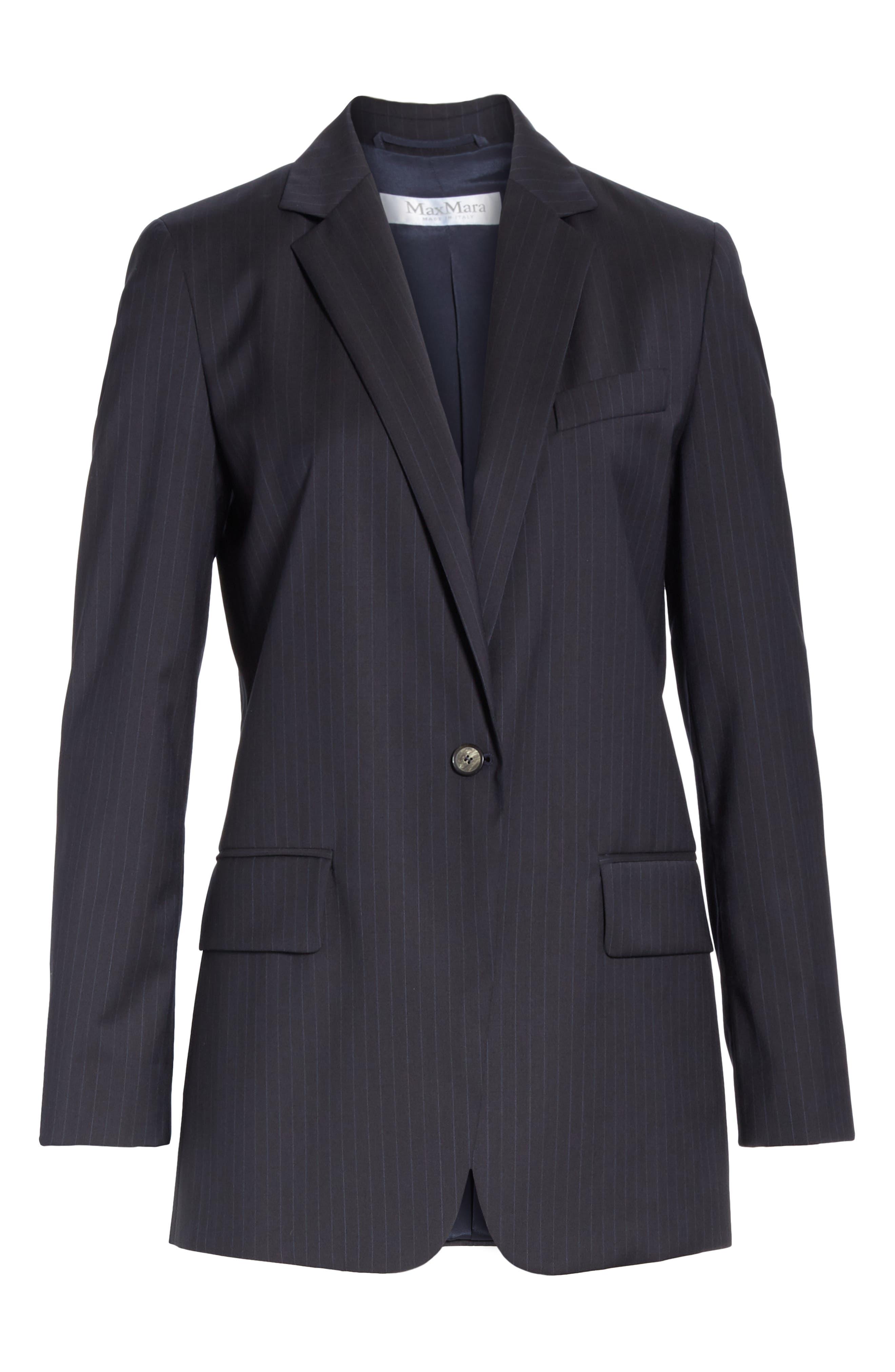 MAX MARA,                             Laser Single Button Wool Jacket,                             Alternate thumbnail 6, color,                             ULTRAMARINE