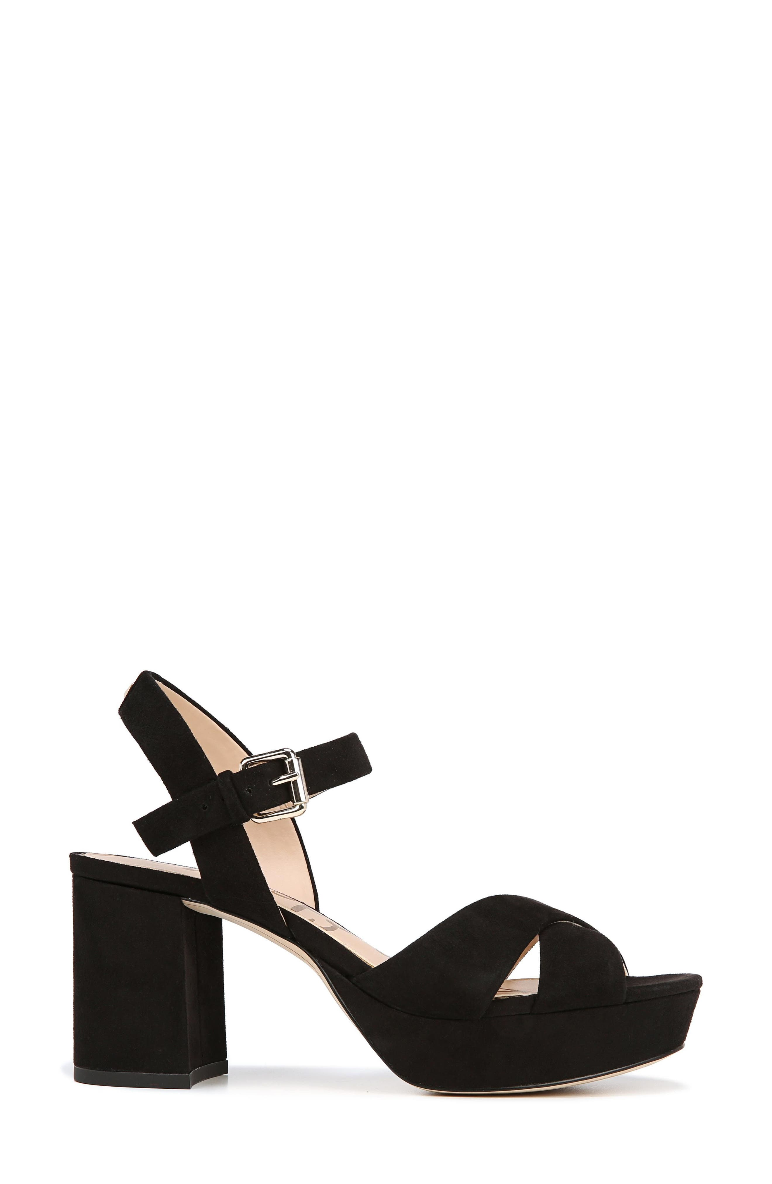 Jolene Platform Sandal,                             Alternate thumbnail 3, color,                             BLACK SUEDE