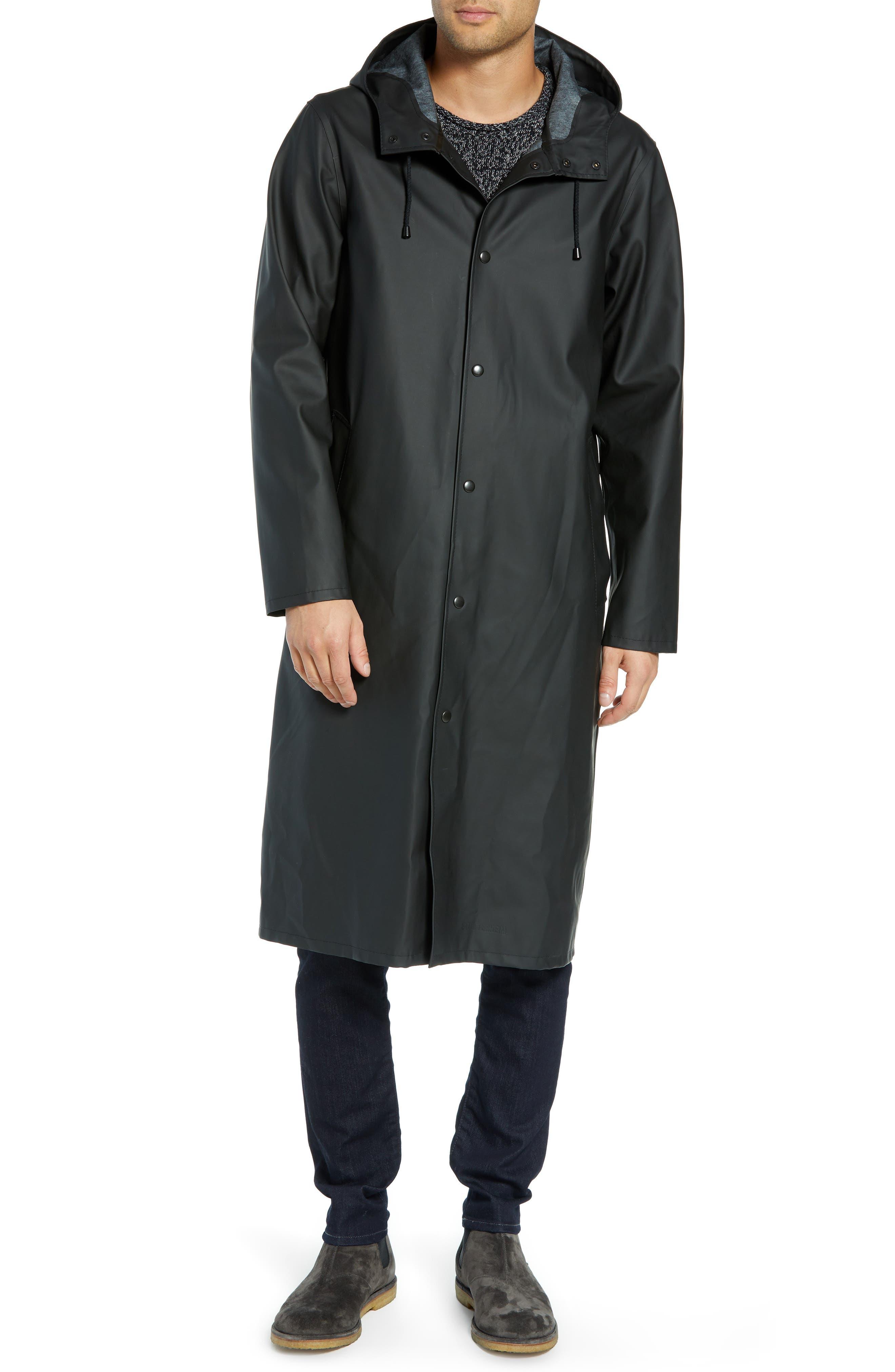Long Logo Print Waterproof Raincoat,                             Alternate thumbnail 4, color,                             BLACK